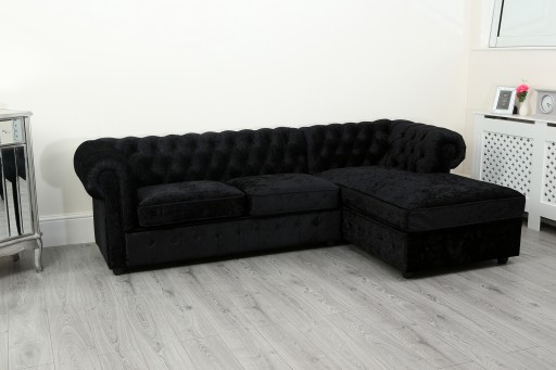 new style d6f50 512f3 Empire Black Crushed Velvet Chesterfield Right Hand Corner Sofa