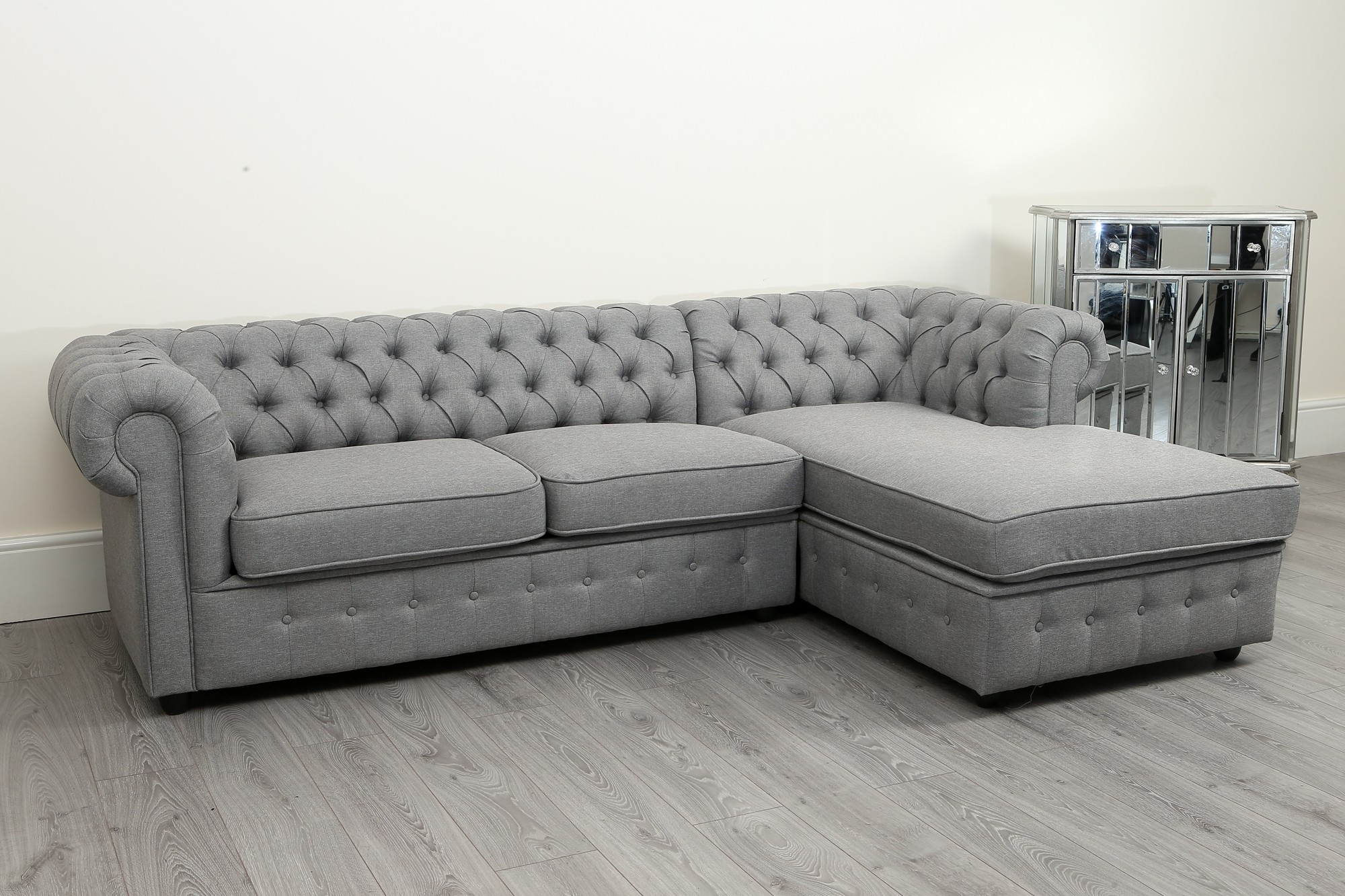 Empire Grey Linen Right Hand Sofa Bed Abreo Home Furniture