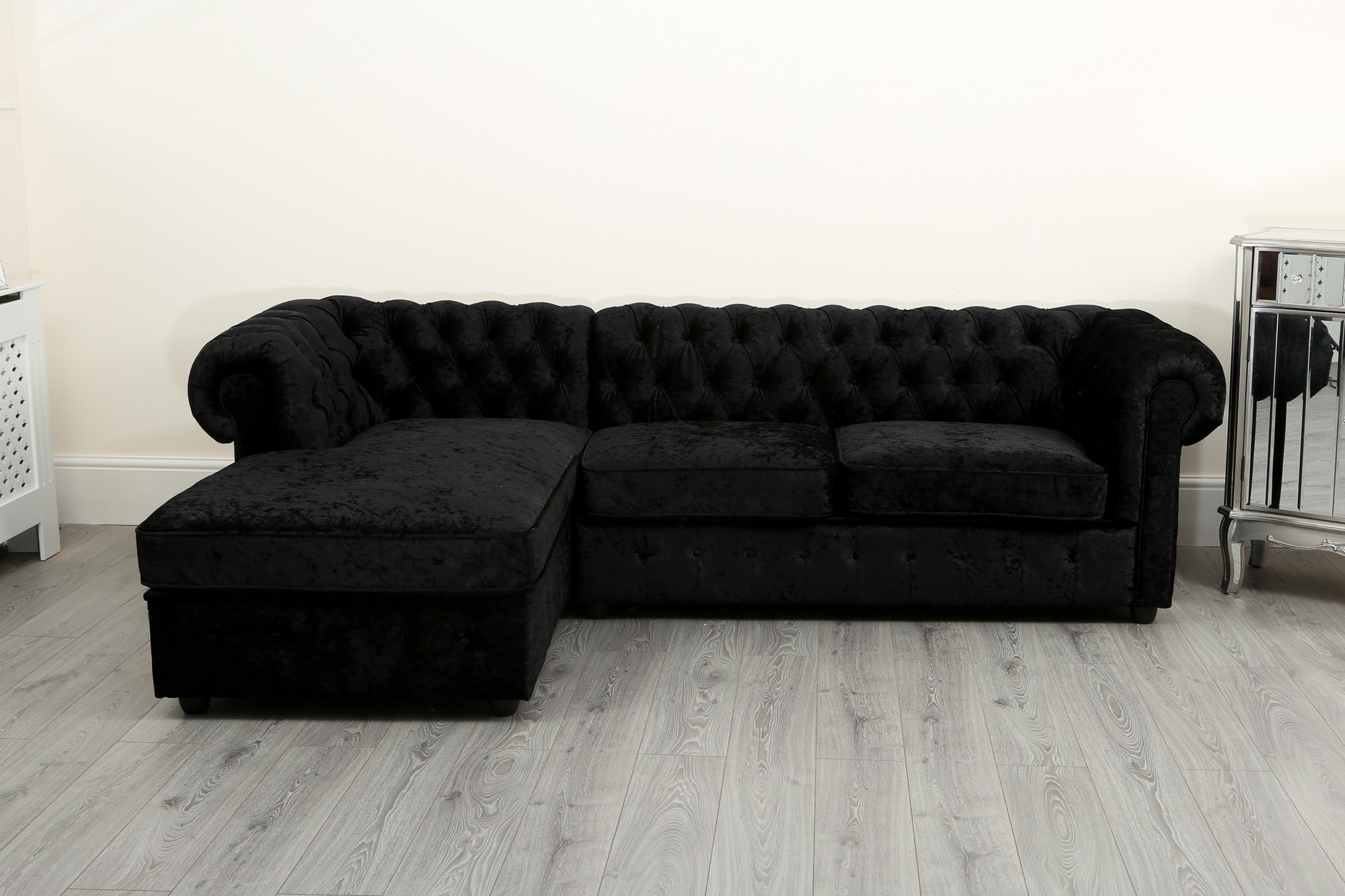 Empire Chesterfield Corner Sofa In Black Crushed Velvet
