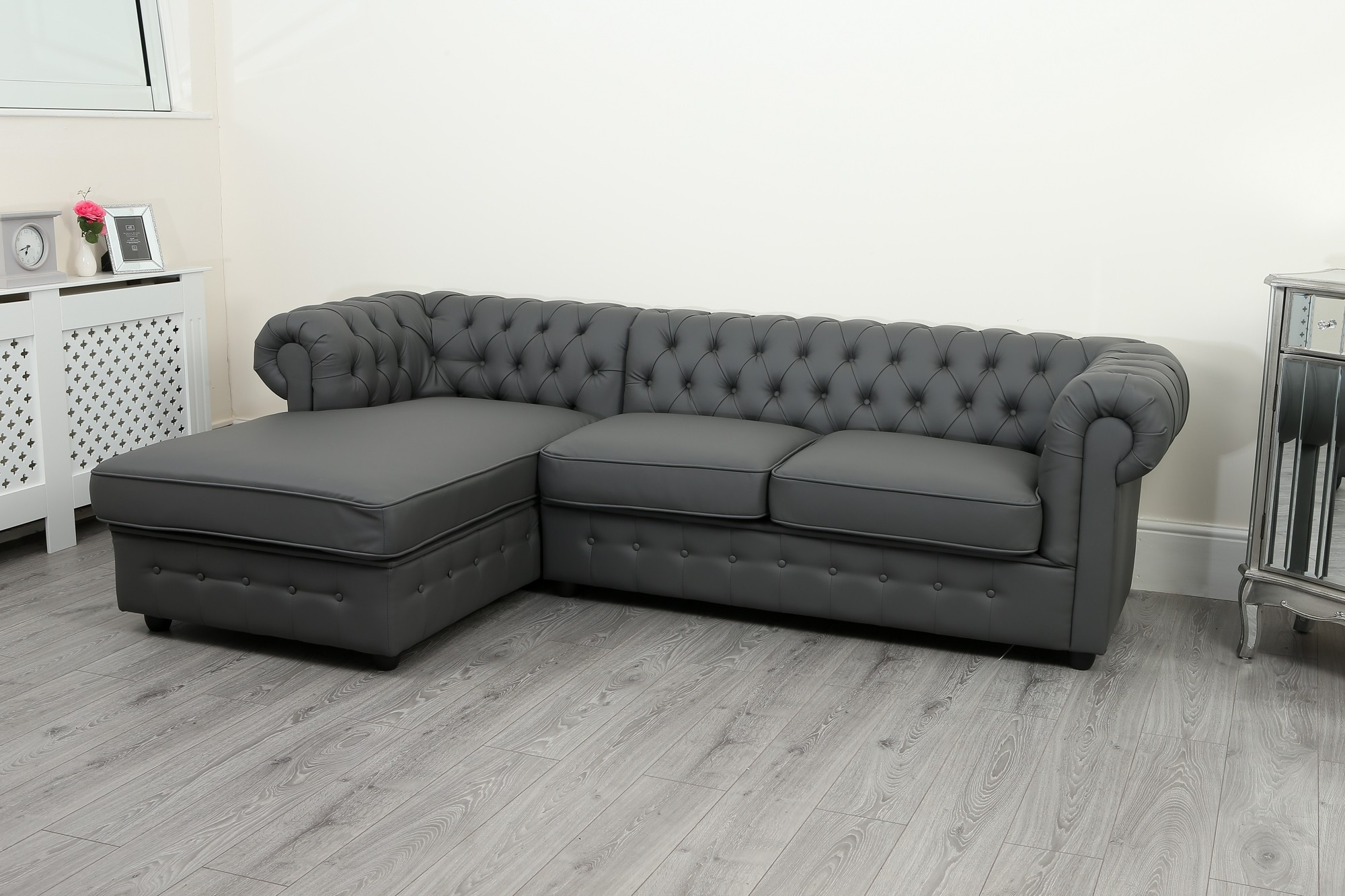 Empire Chesterfield Corner Sofa Bed In Grey Pu Leather
