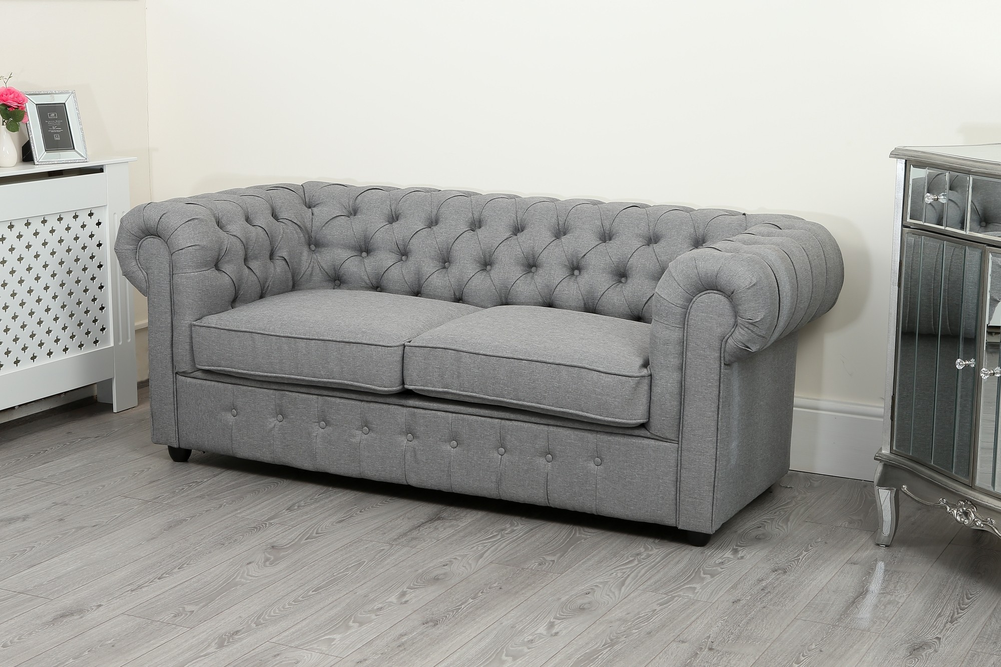 chesterfield sofa suite 3 2 and 1 seater in grey linen. Black Bedroom Furniture Sets. Home Design Ideas