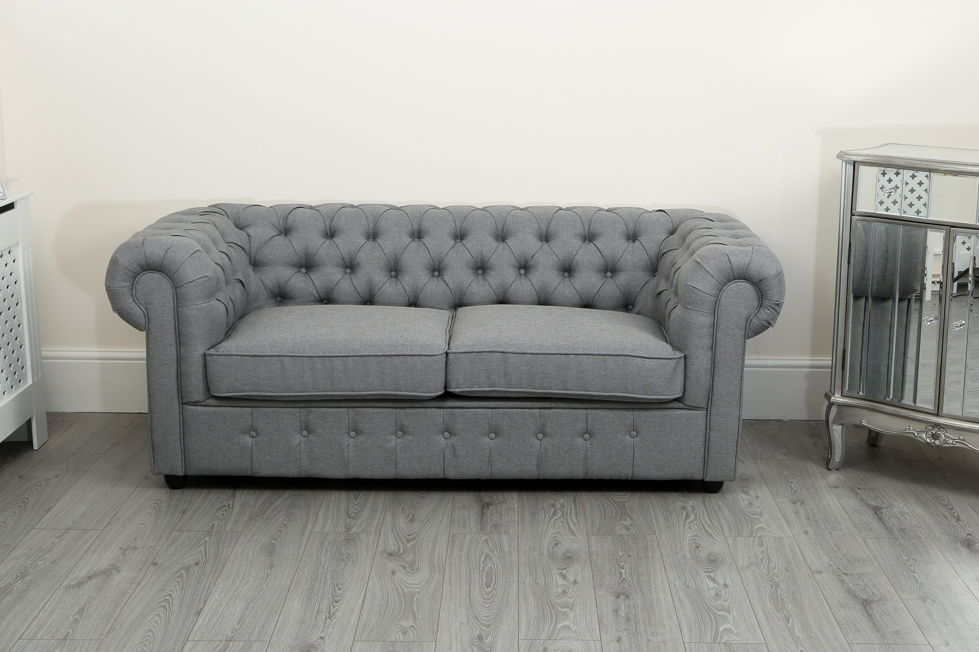 chesterfield sofa suite 3 2 and 1 seater in grey linen fabric abreo home furniture. Black Bedroom Furniture Sets. Home Design Ideas