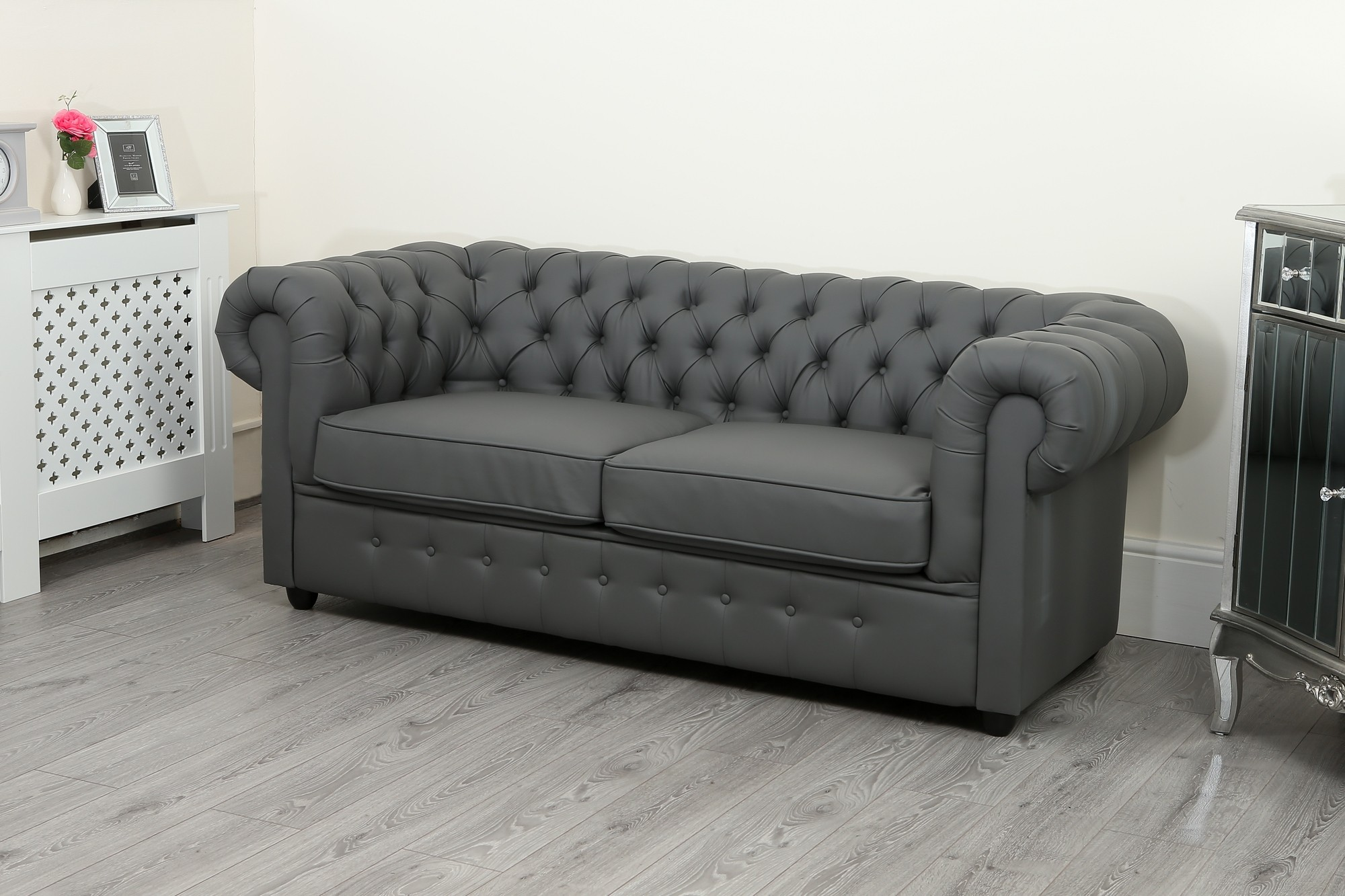 Empire Grey Faux Leather Chesterfield Sofa Suite Abreo