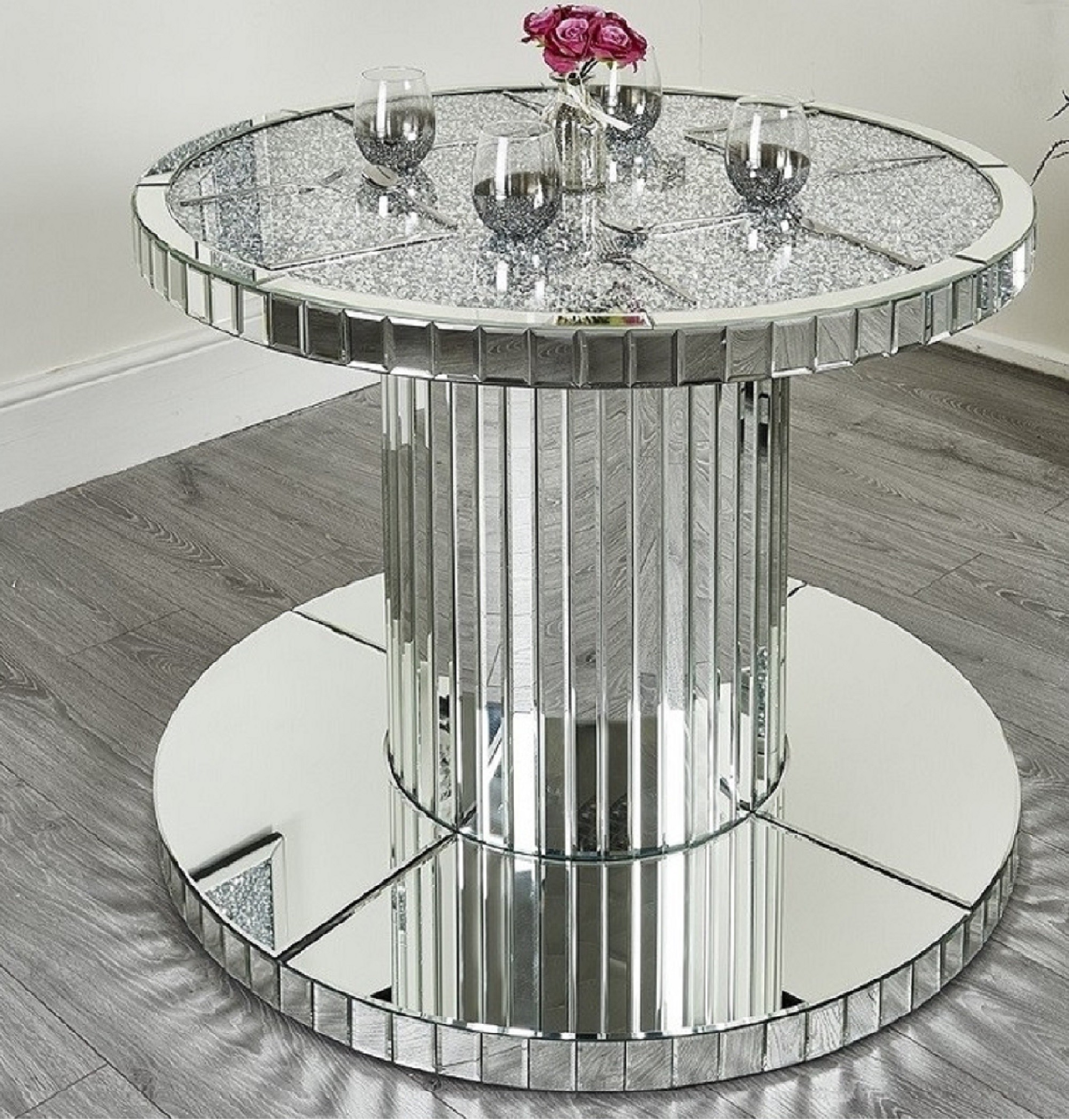 Diamond Crush Round Dining Table Abreo Abreo Home Furniture