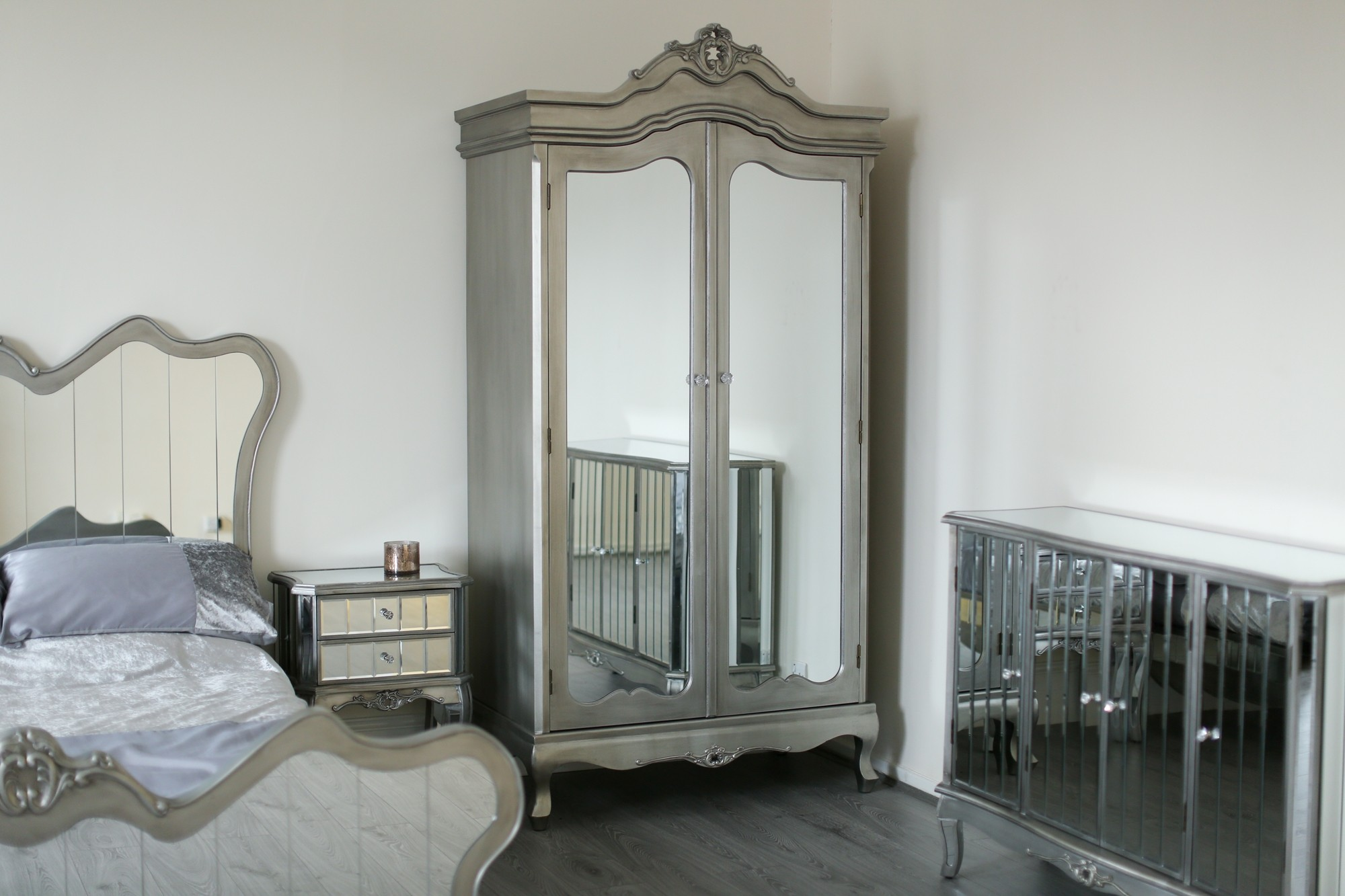 glamorous french shabby chic bedroom furniture   Mirrored Silver French Style Mirror Gold Shabby Chic ...