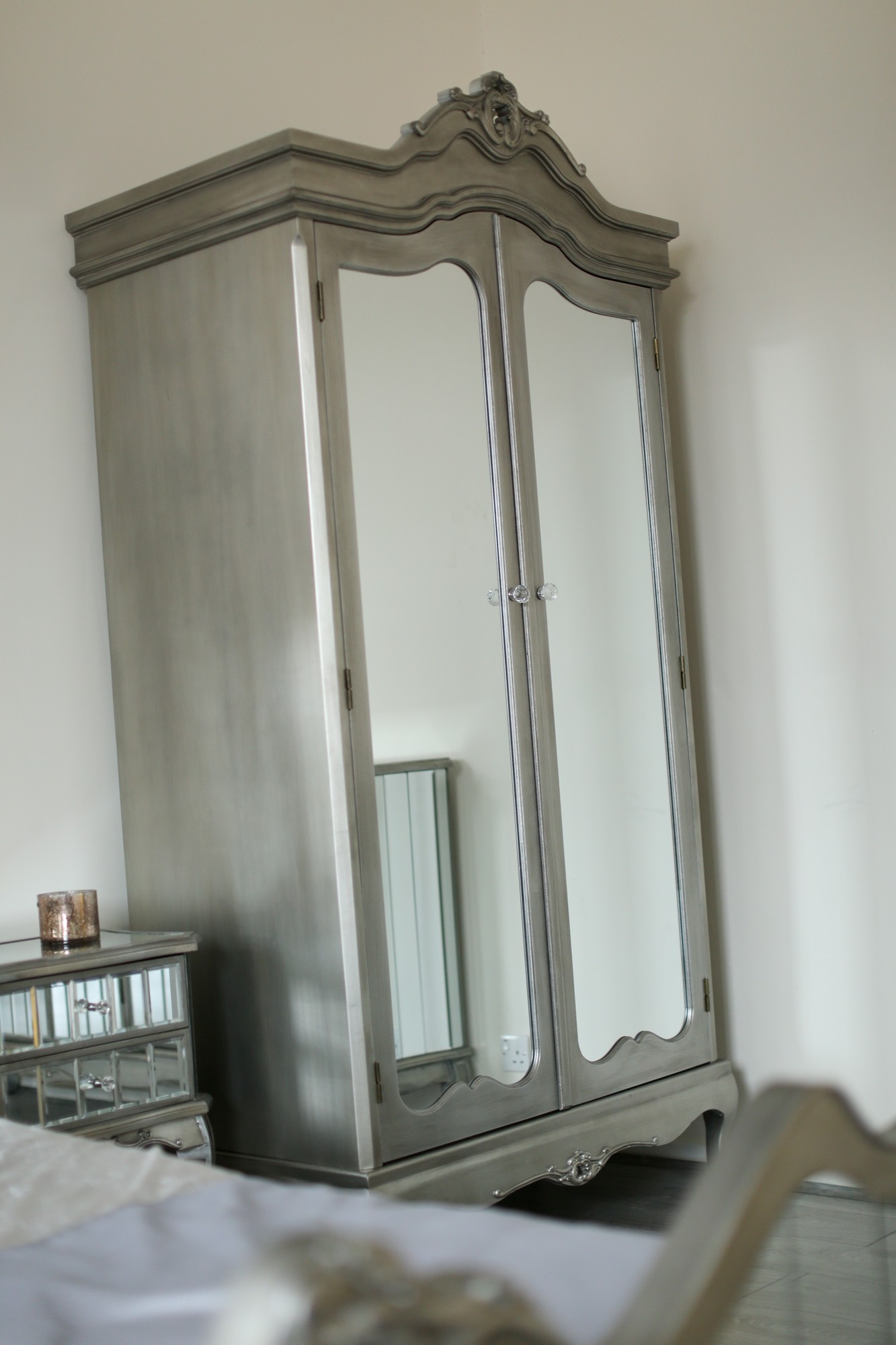 Sophia 2 Door Mirrored Wardrobe French Shabby Chic Silver