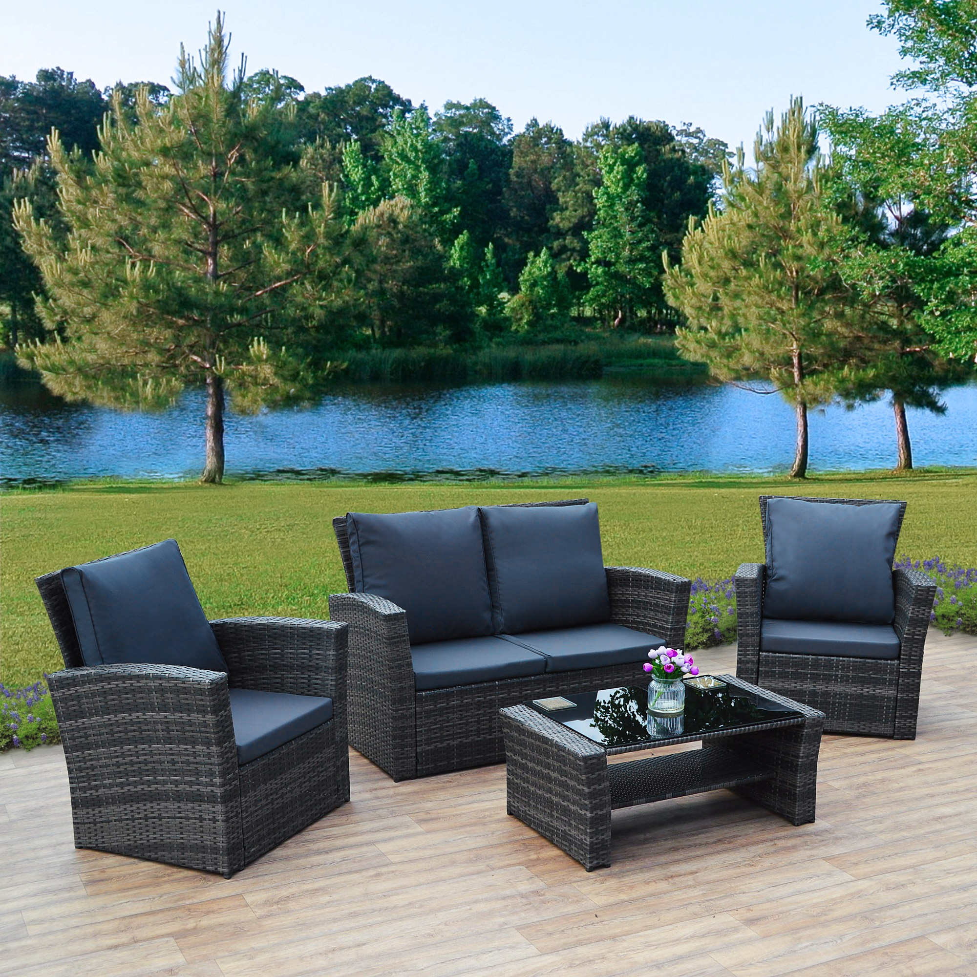 49f3ed819a99 4 Piece Algarve Rattan Sofa Set for patios, conservatories and ...