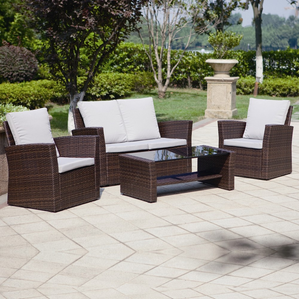 4 piece algarve rattan sofa set for patios conservatories for Outdoor wicker furniture