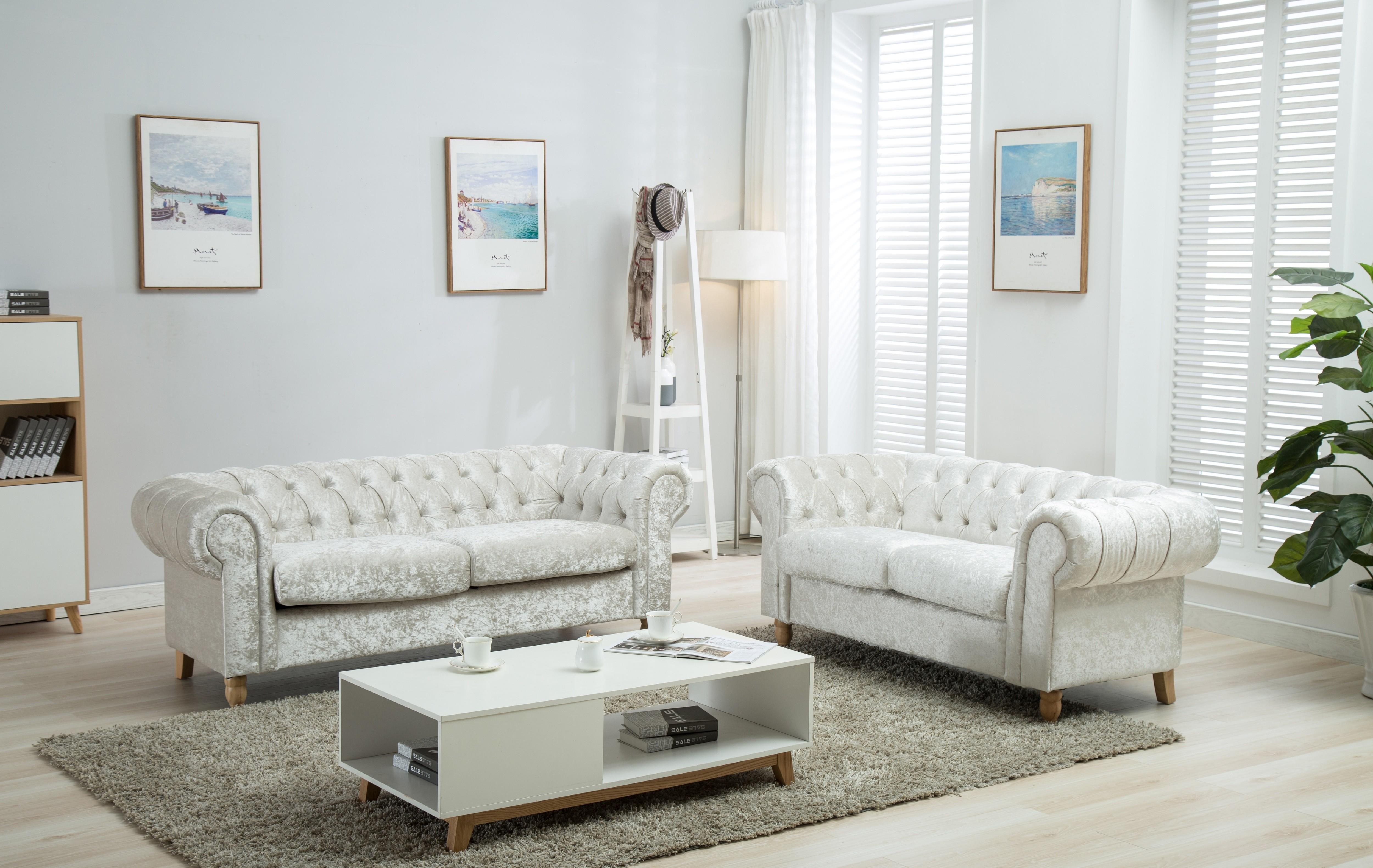 Prime Canterbury Arctic Silver Crushed Velvet Fabric Chesterfield Sofa Suite 3 And 2 Seater Creativecarmelina Interior Chair Design Creativecarmelinacom