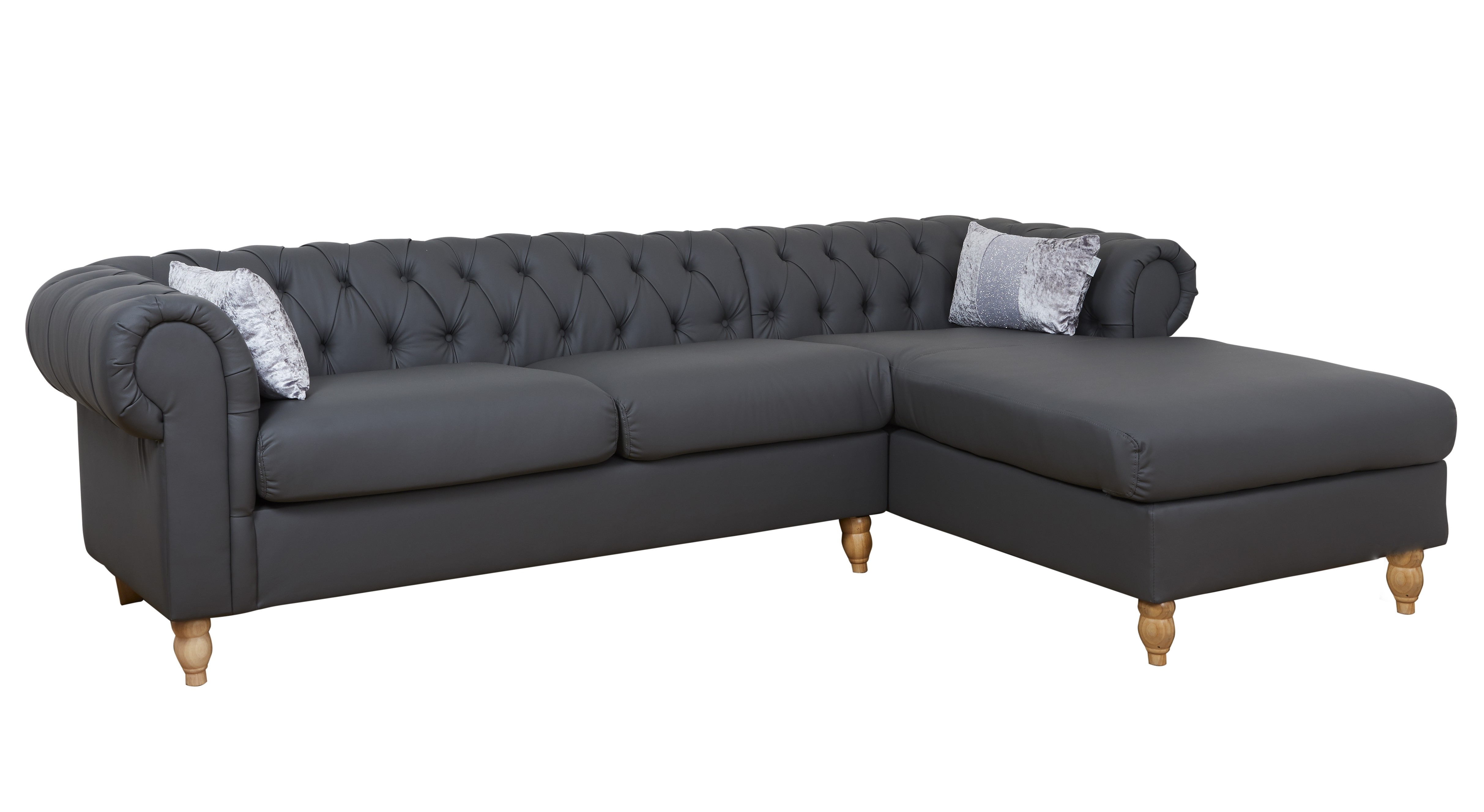 Incredible Canterbury Grey Faux Leather Corner Chesterfield With Rh Chaise Inzonedesignstudio Interior Chair Design Inzonedesignstudiocom