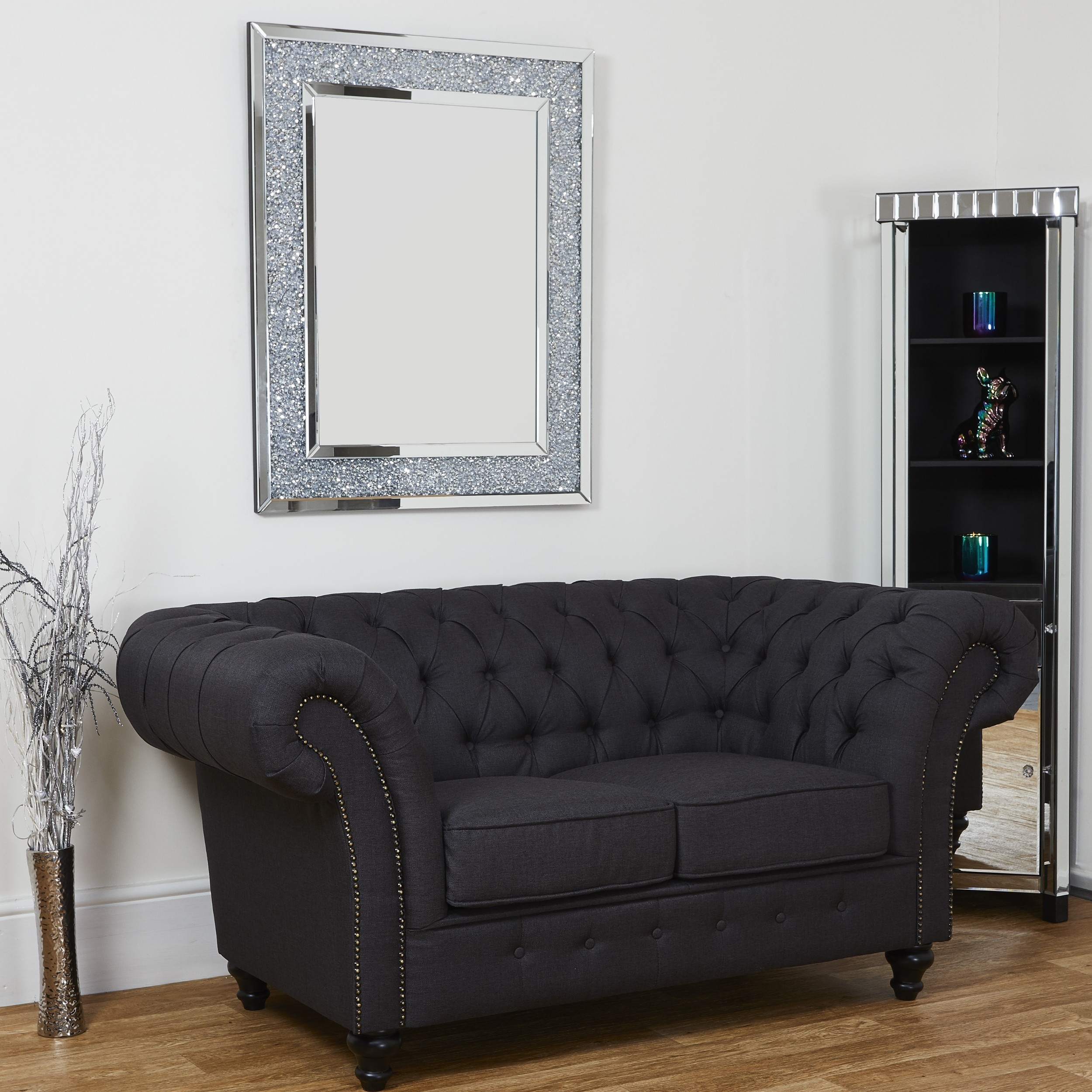 Charcoal Dark Grey Linen Chesterfield 3 Seater Sofa Abreo Home Furniture