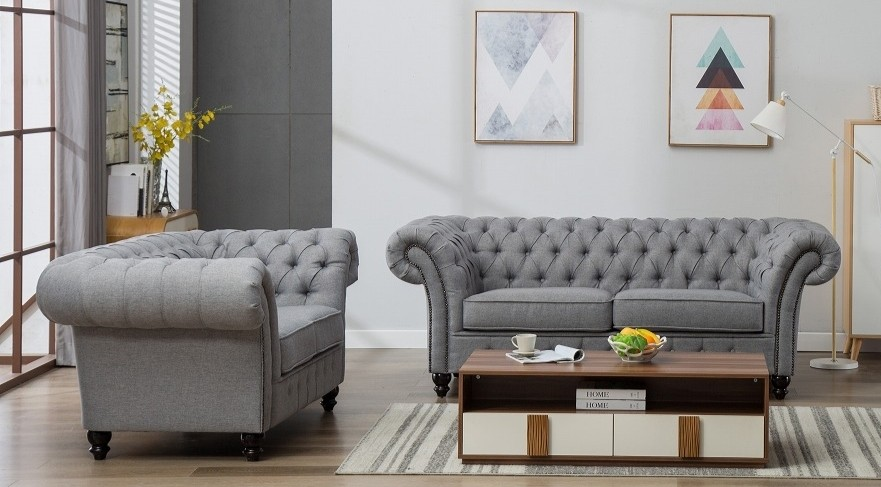 Grey Linen Chesterfield 3 Seater Sofa Abreo Home Furniture