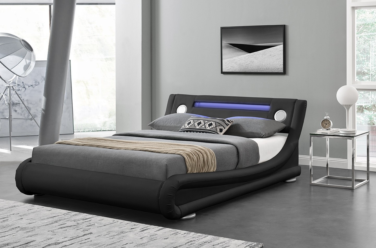 Led Light Bluetooth Speaker Leather Bed Frame Abreo Home