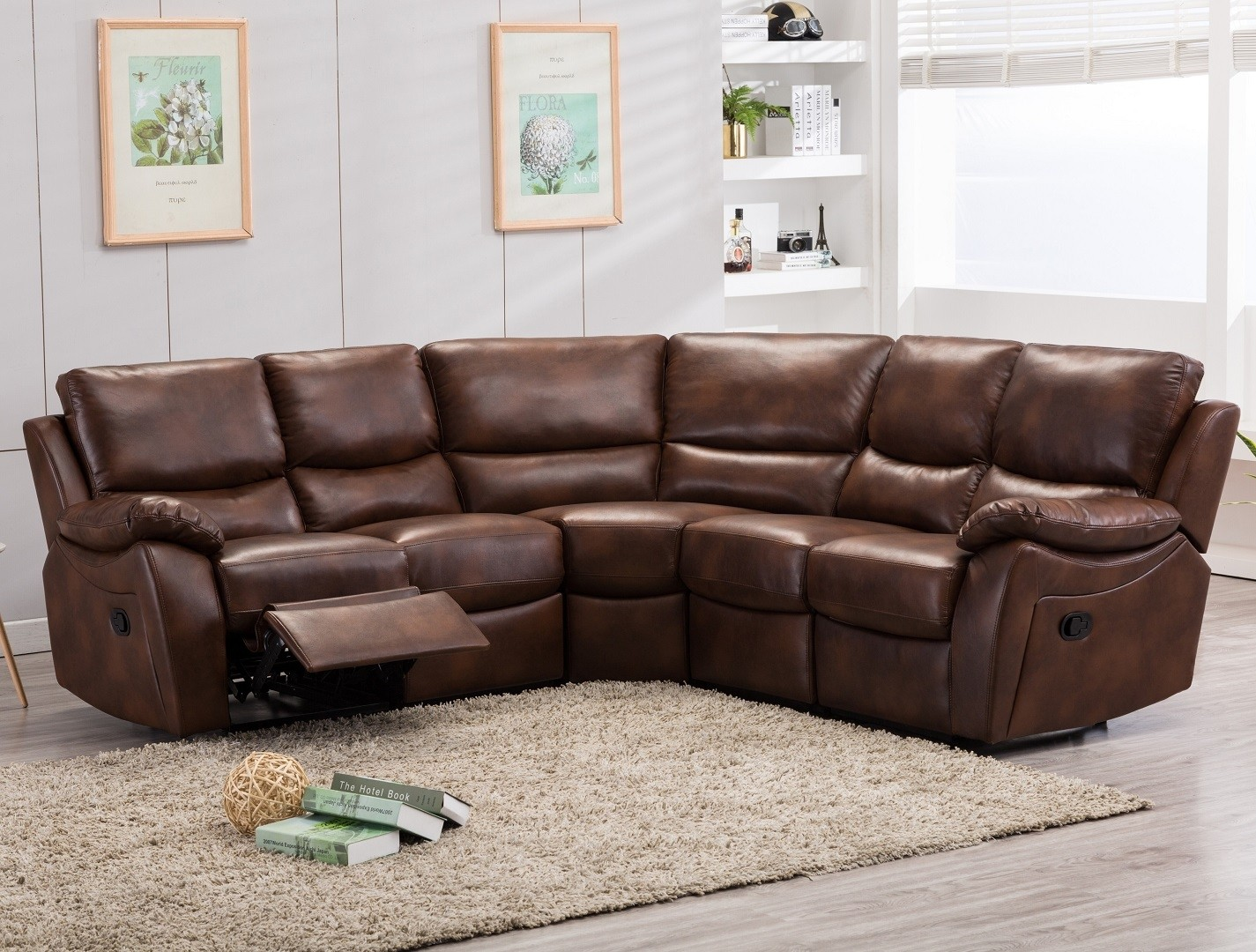 Curved Corner Reclining Sofa 5 Seater Leather Or Fabric