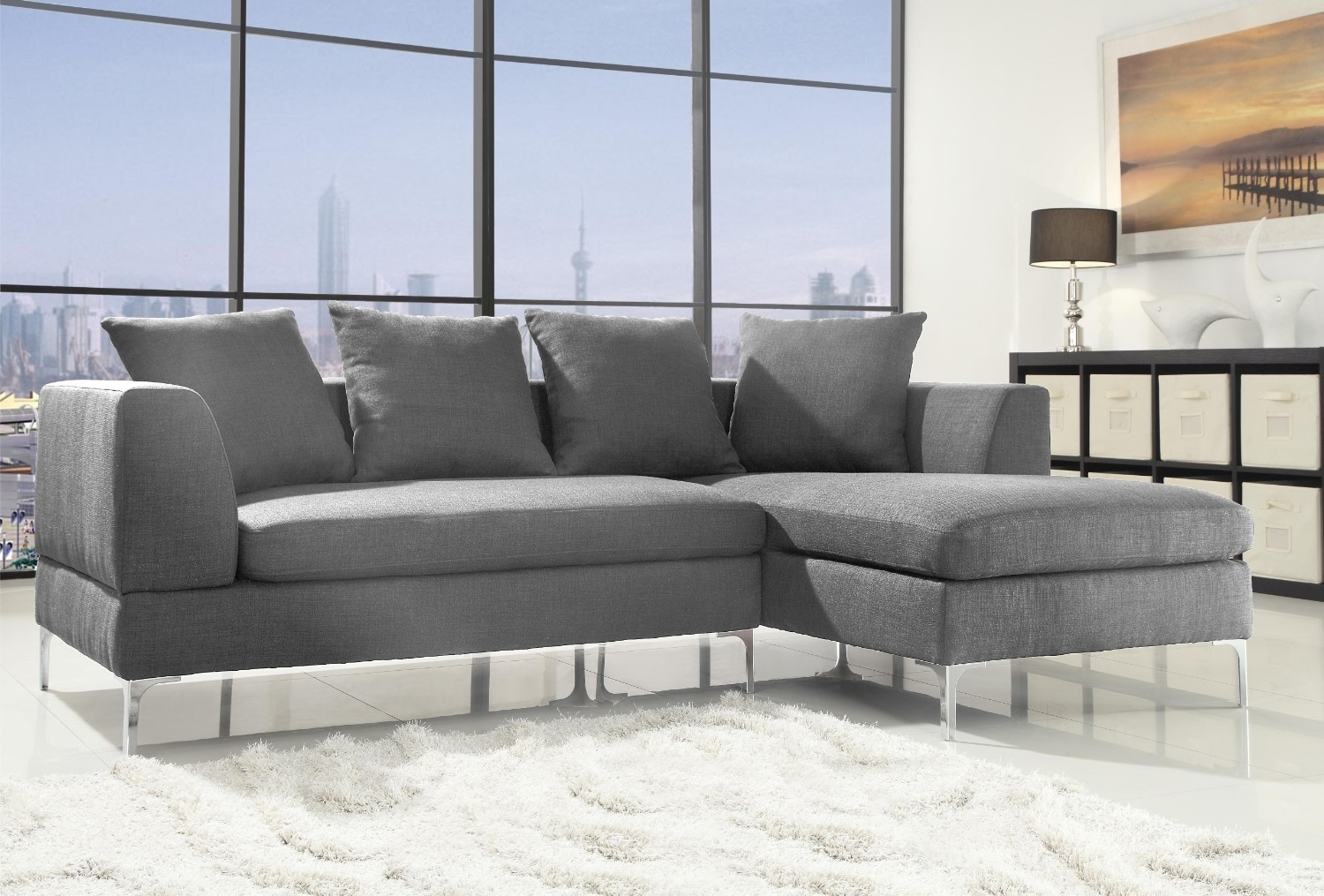 Manhattan Corner Sofa Grey Linen | Abreo Abreo Home Furniture