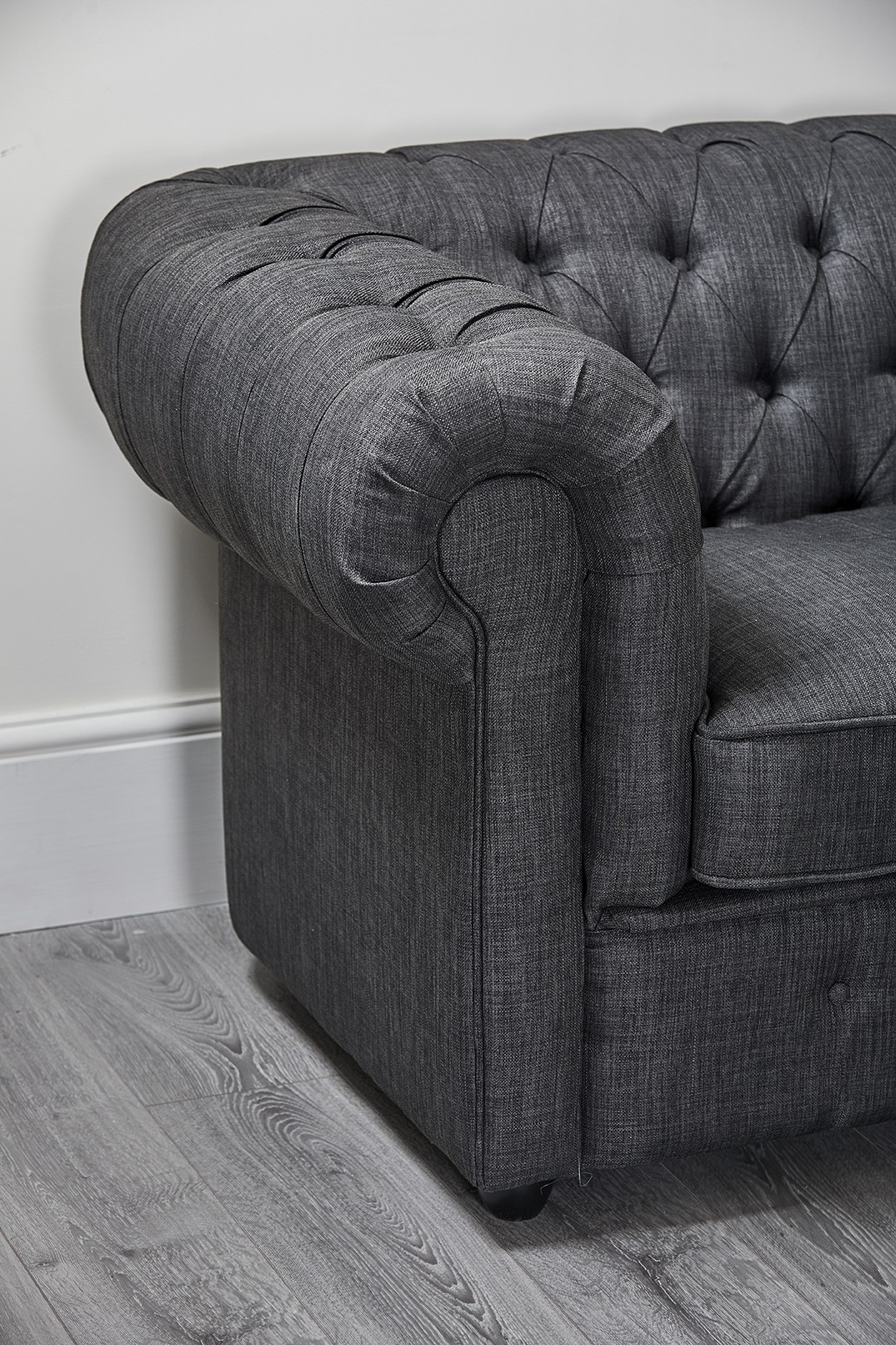 Charcoal Dark Grey Linen Chesterfield 2 Seater Abreo Home