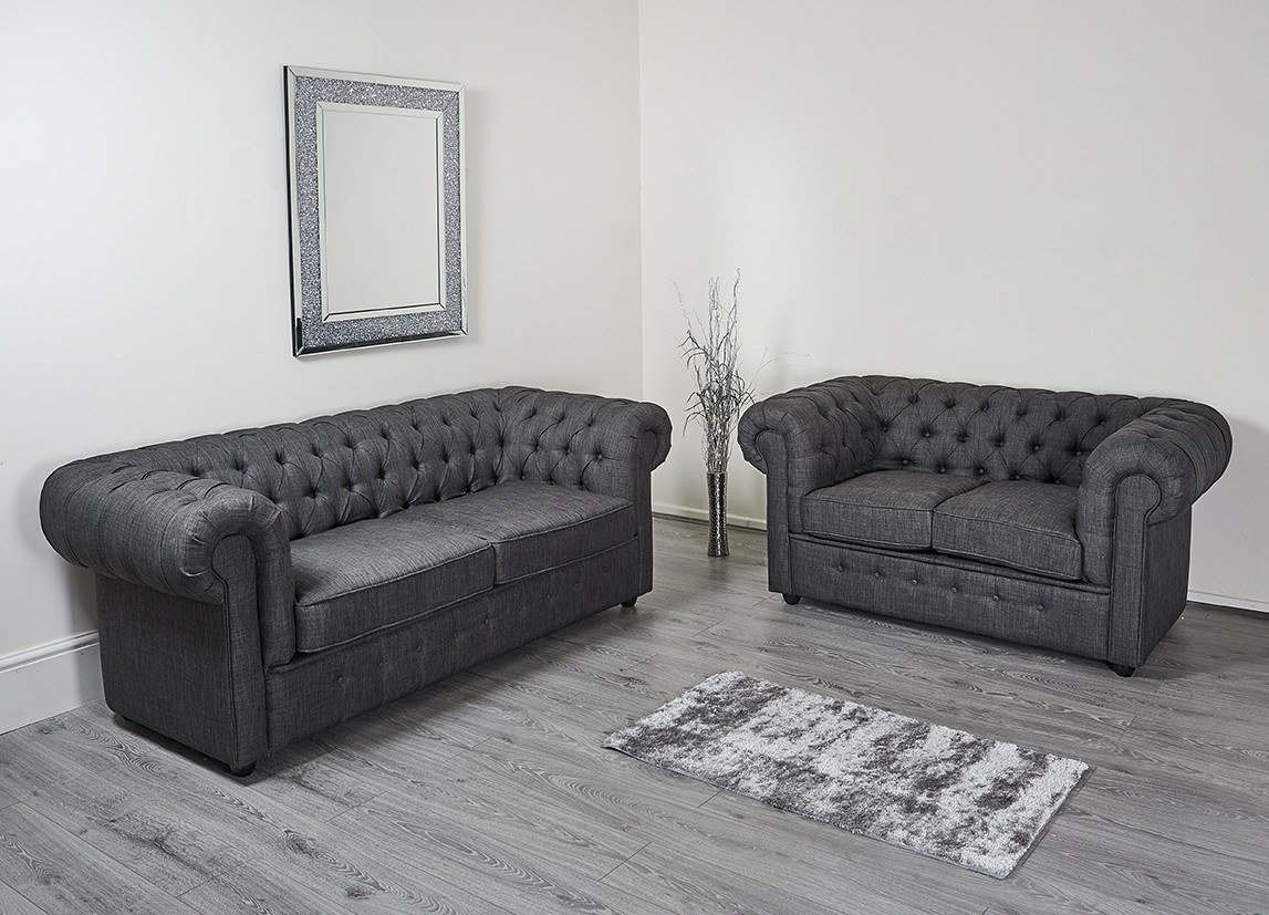 Charcoal Dark Grey Linen Chesterfield 2 3 Seater Sofa
