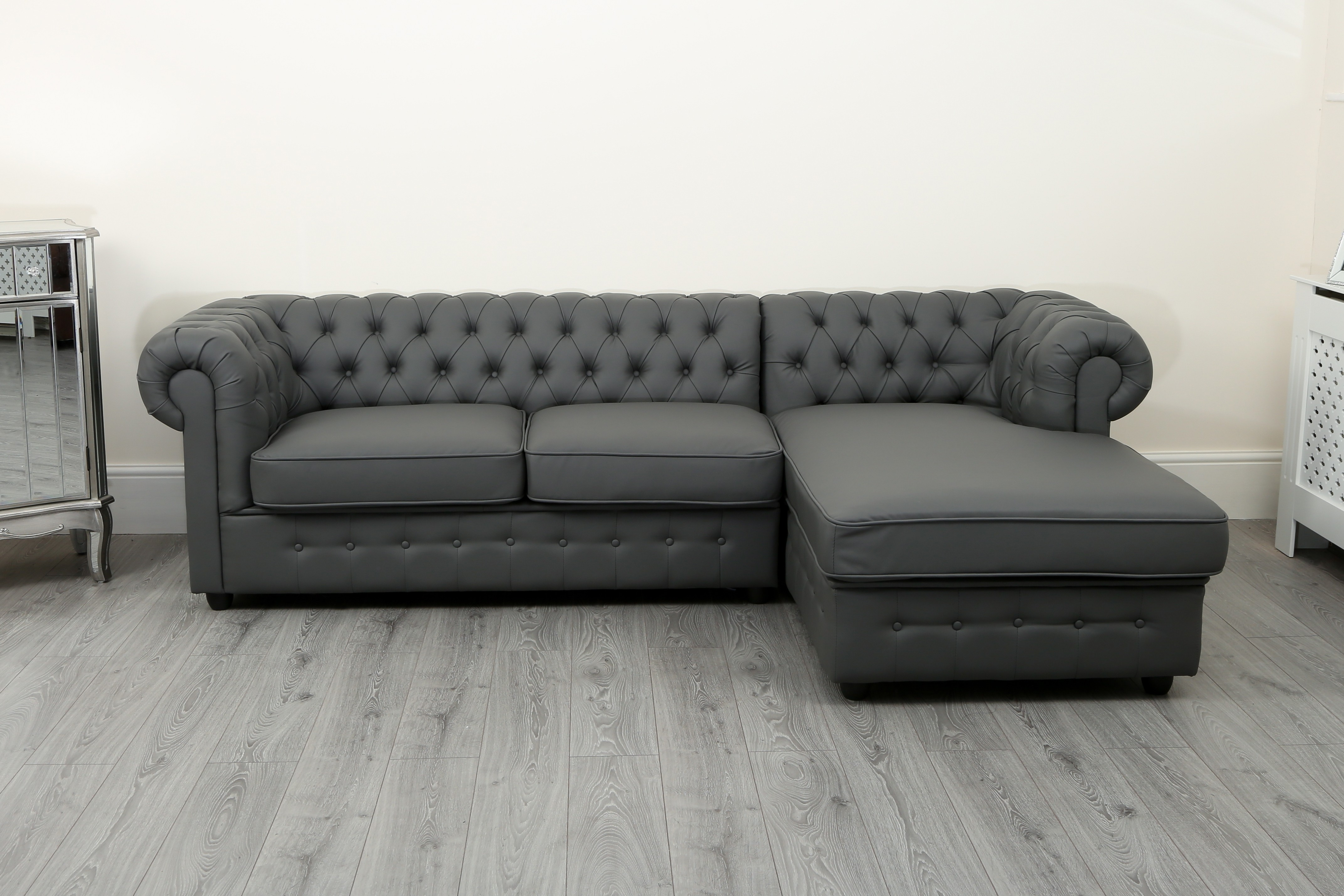 Empire Chesterfield Corner Sofa Bed in Grey PU Leather ...