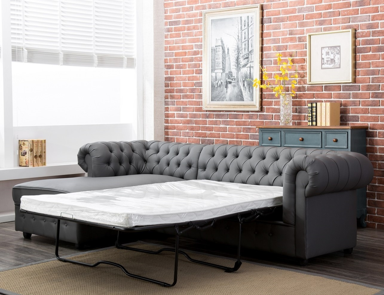 Empire Chesterfield Corner Sofa Bed In Grey Pu Leather Abreo Home