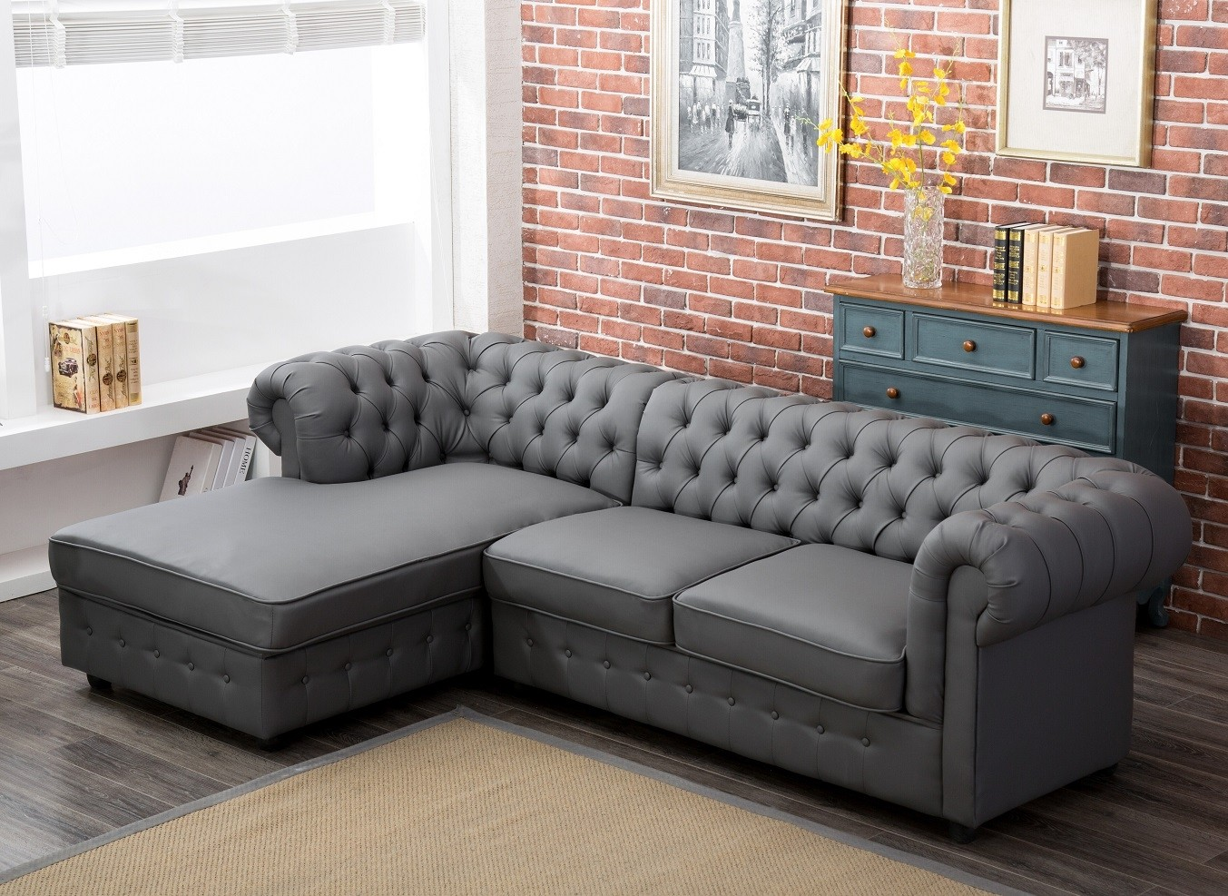 Empire Chesterfield Corner Sofa Bed In Grey Pu Leather Abreo Home Furniture