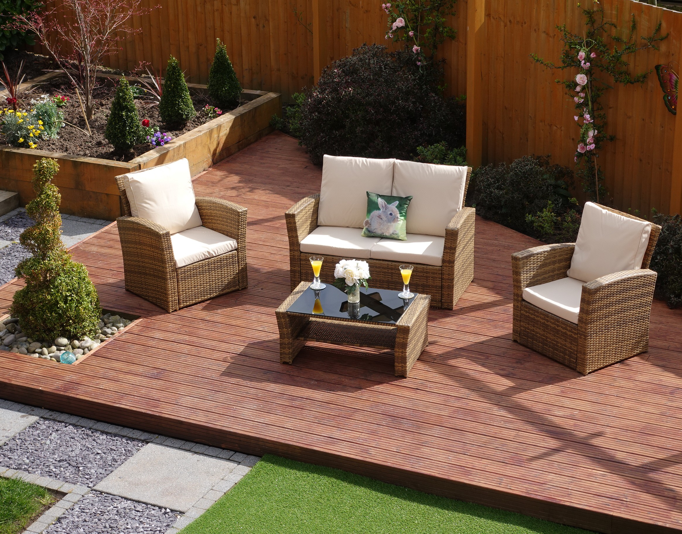 4 Piece Algarve Rattan Sofa Lounge Set For Patios