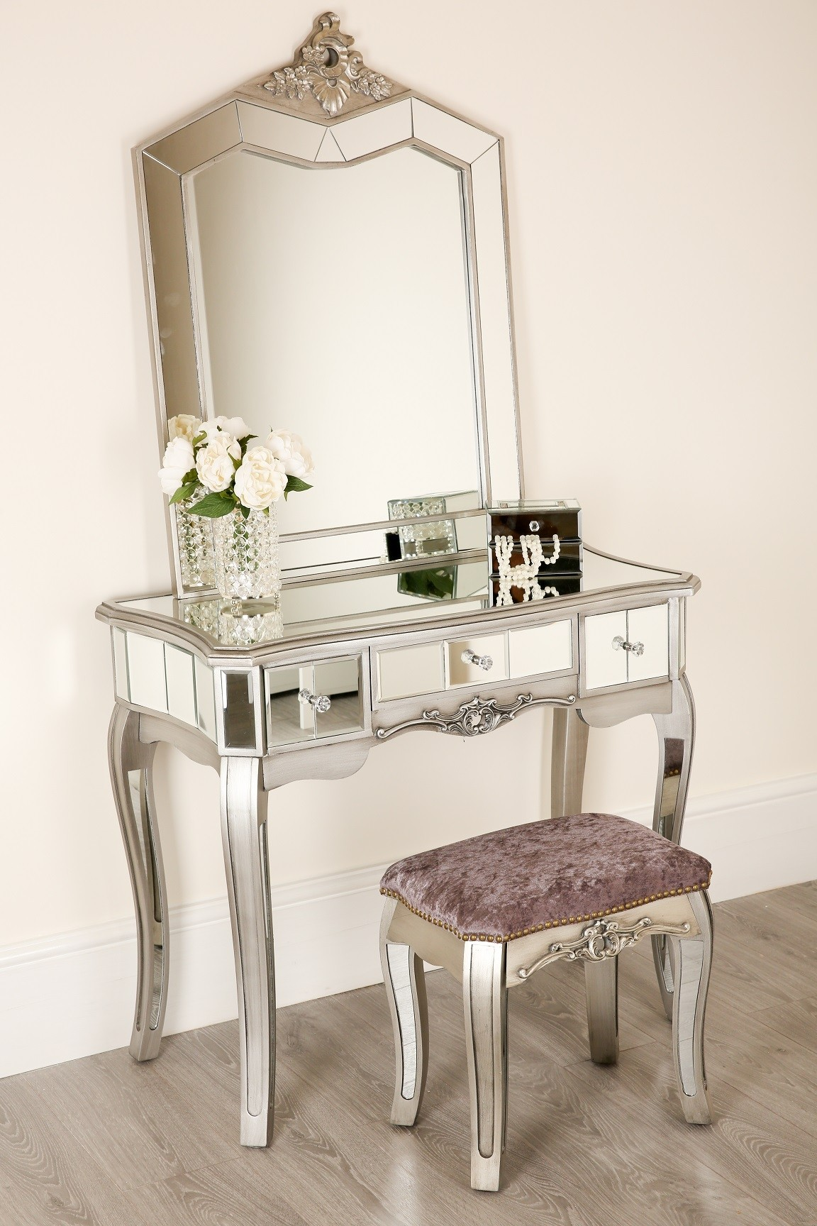 Dressing Table Chairs And Stools: Mirrored Dressing Table Mirror 1 Drawer And Stool Bedroom