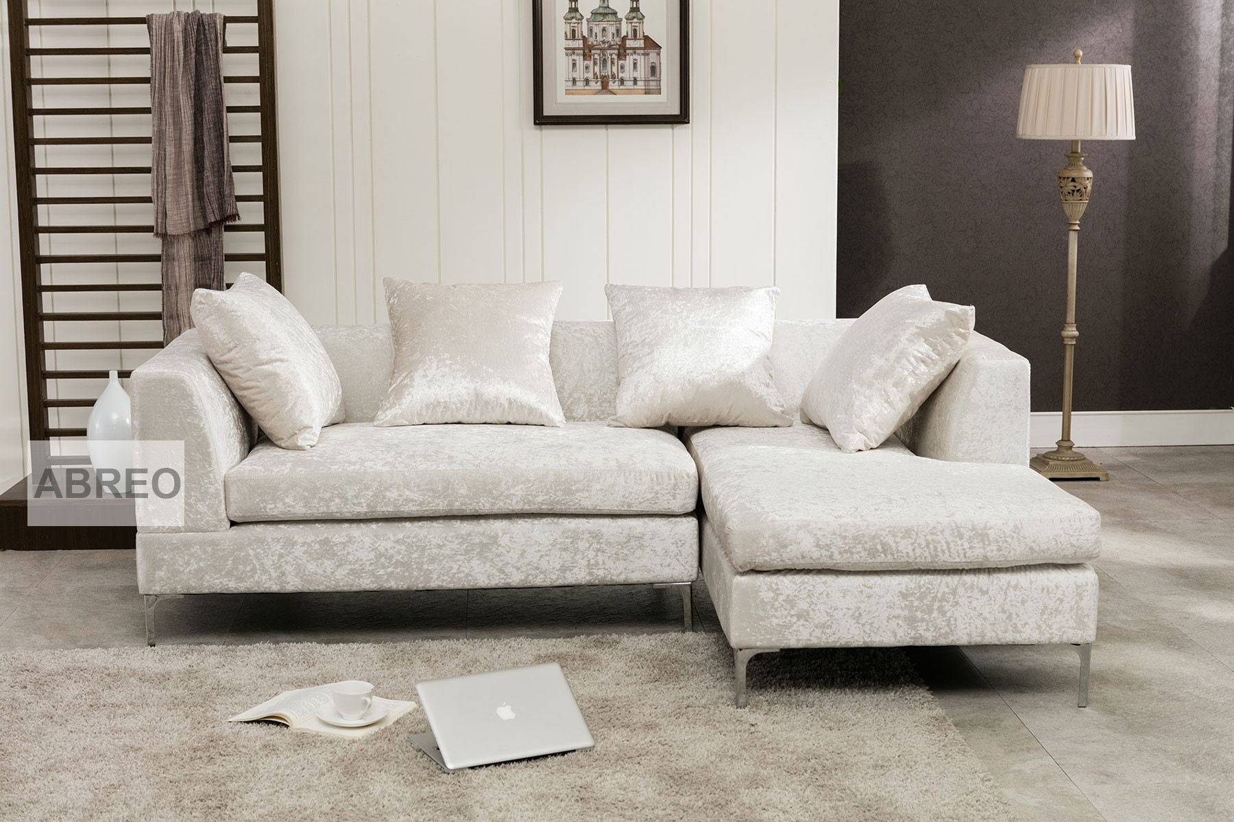 Manhattan Silver Crushed Velvet Sofa ...
