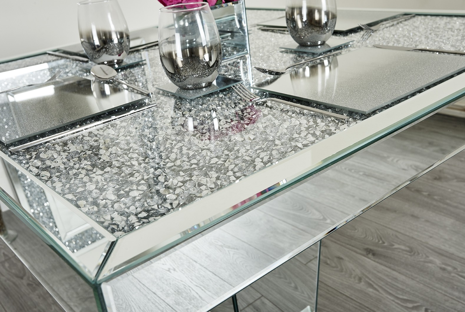 Crushed Diamond 4 Seater Square Dining Table Abreo Abreo