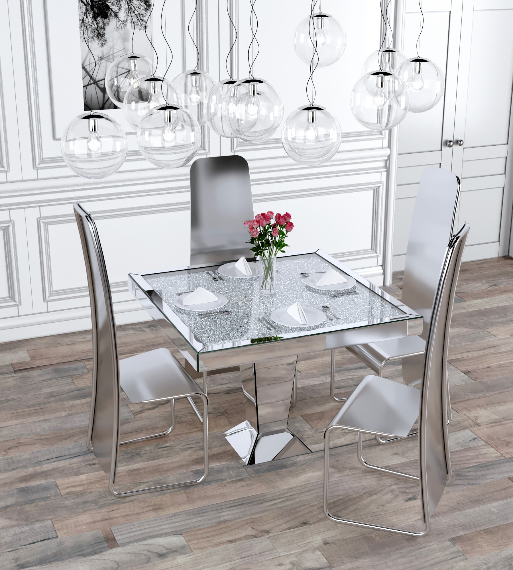 Crushed Diamond Mirrored Coffee Table: Crushed Diamond 4 Seater Square Dining Table
