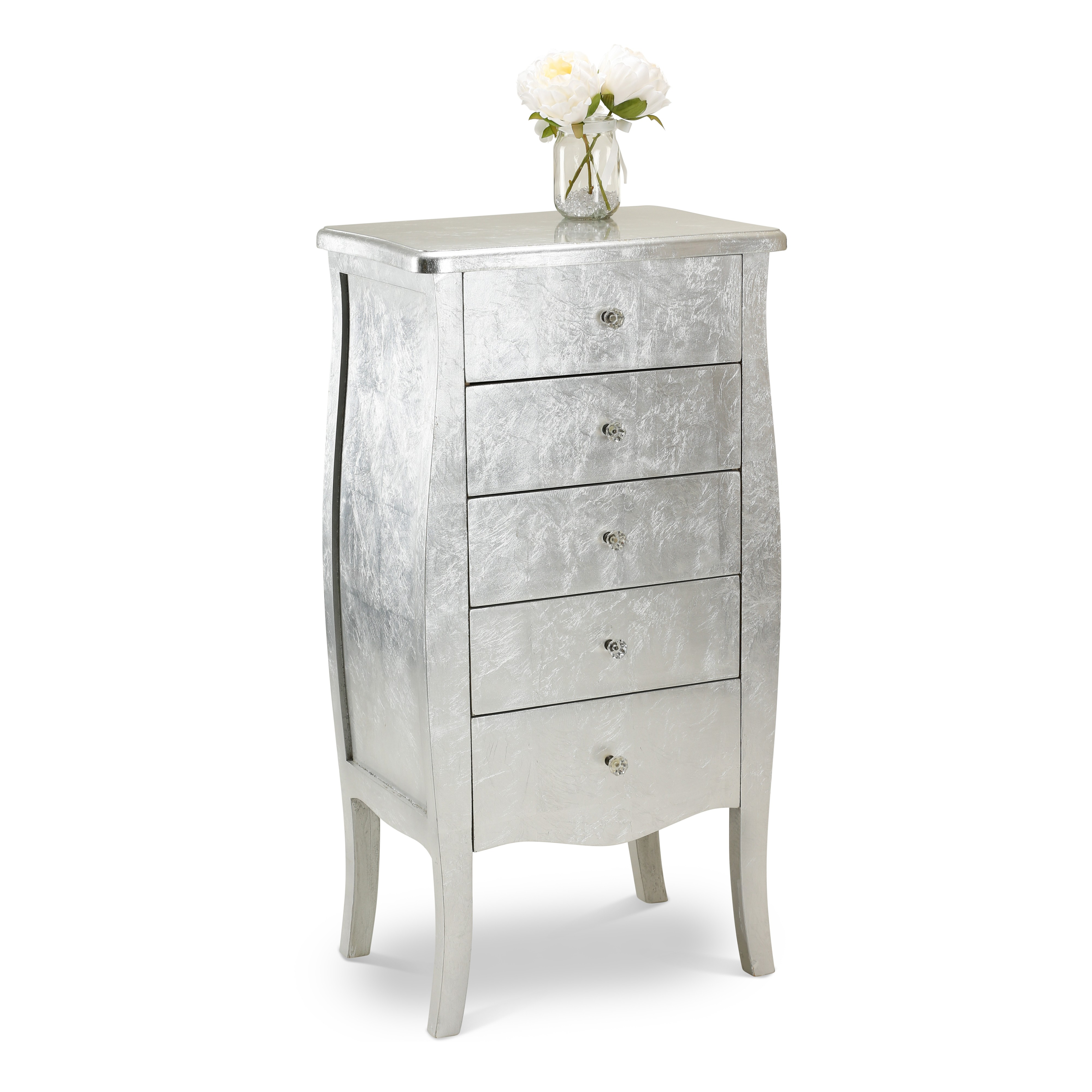 Silver 5 Drawers Tallboy Living Room Furniture Home Furniture