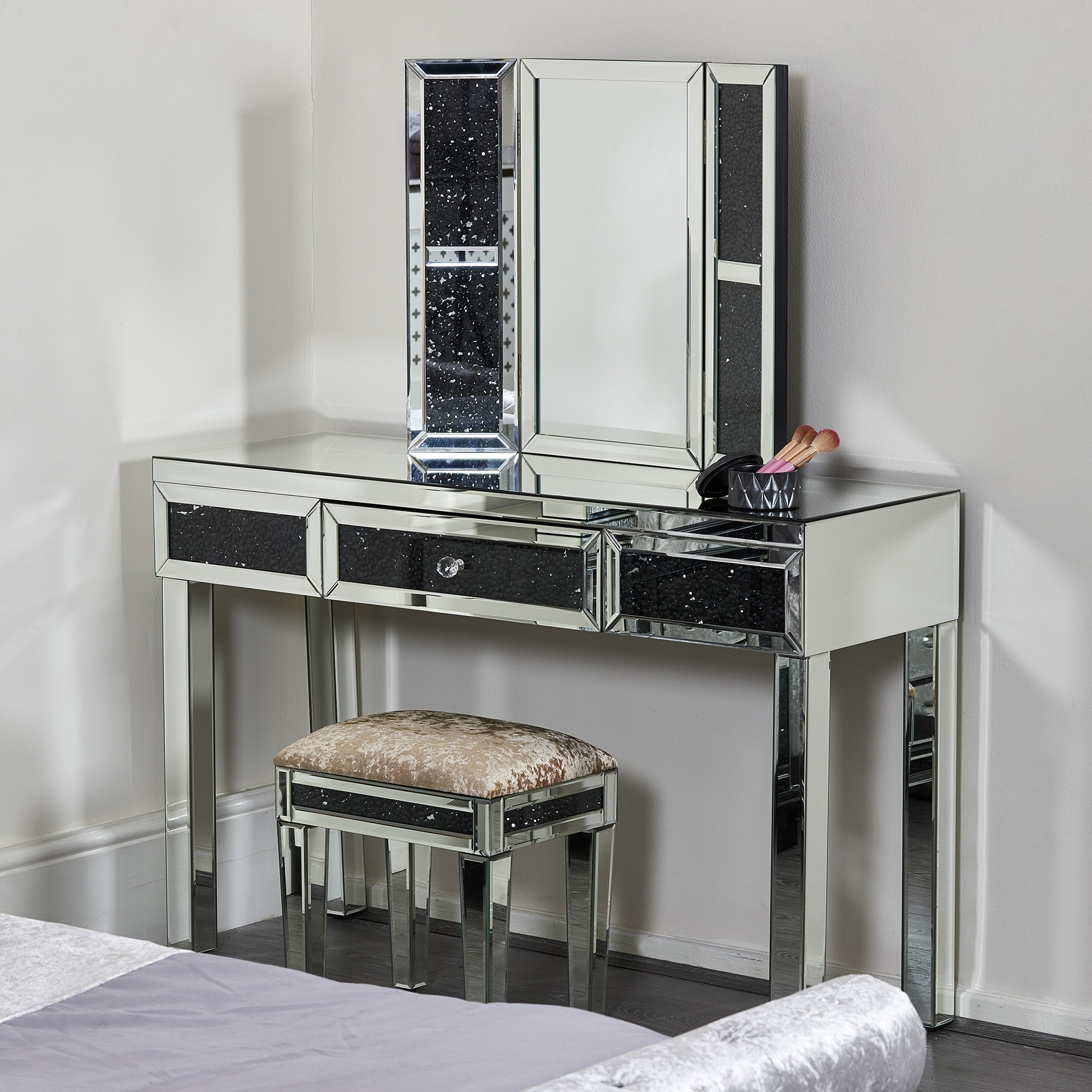 Black Diamond Crush Dressing Table Set Abreo Home Furniture