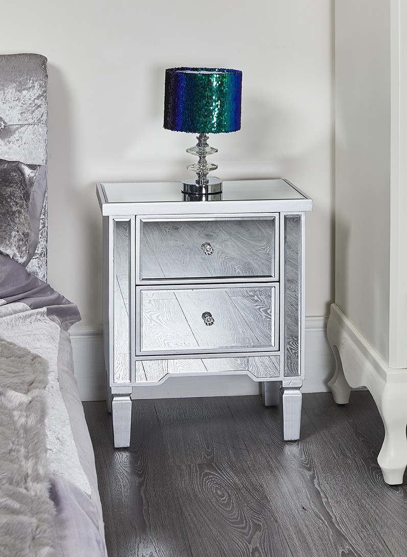Mirrored Bedside Table Florence Abreo Home Furniture