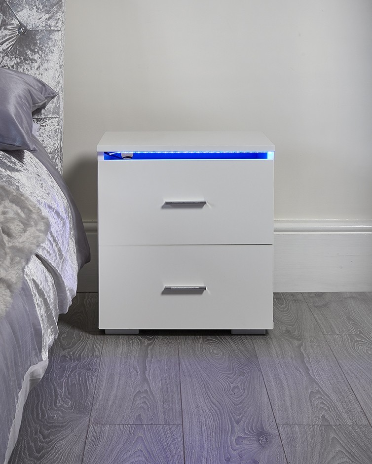 White Led Bedside Table Abreo Home Furniture