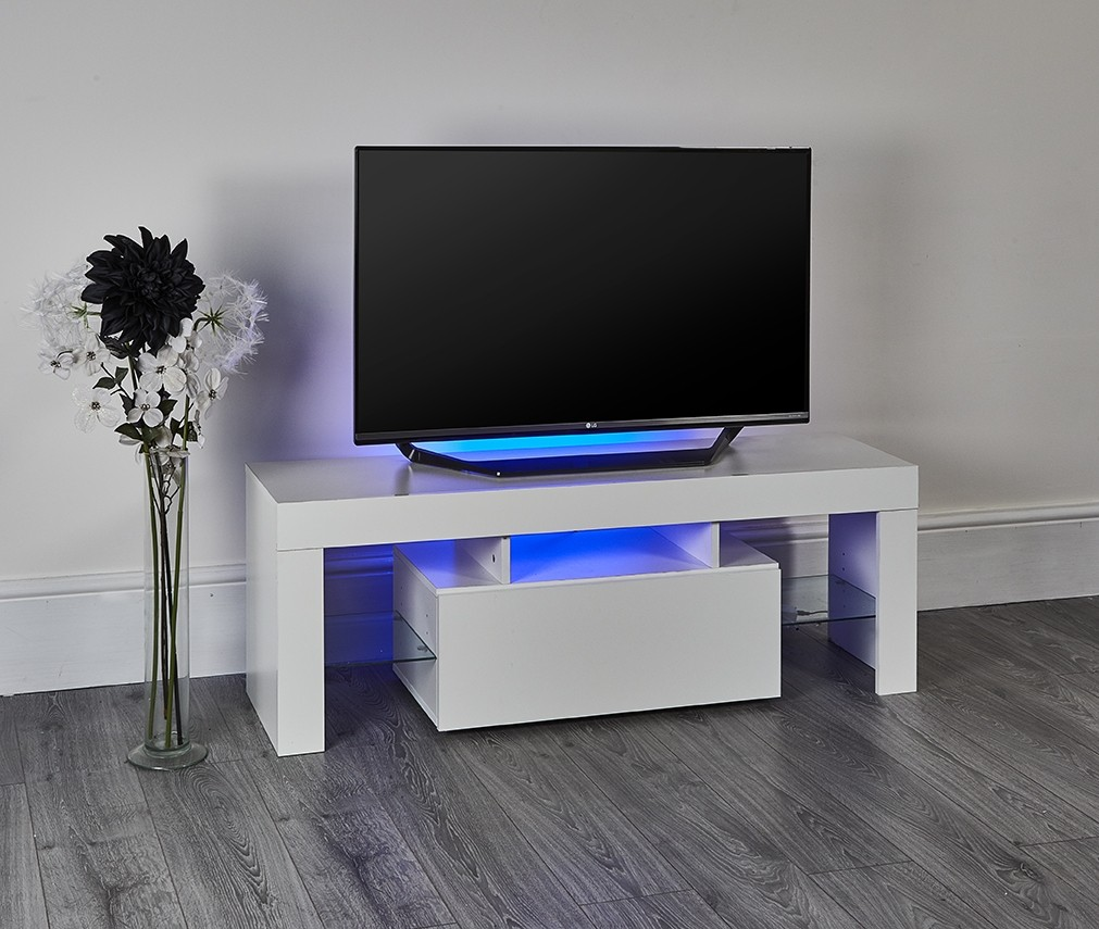 White High Gloss Led Light Tv Stand Abreo Home Furniture