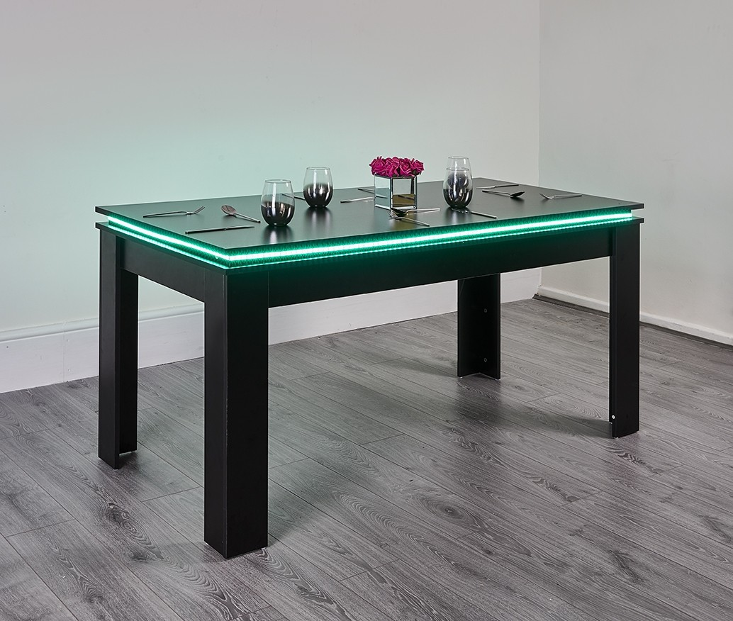 Black Led Dining Table Abreo Abreo Home Furniture
