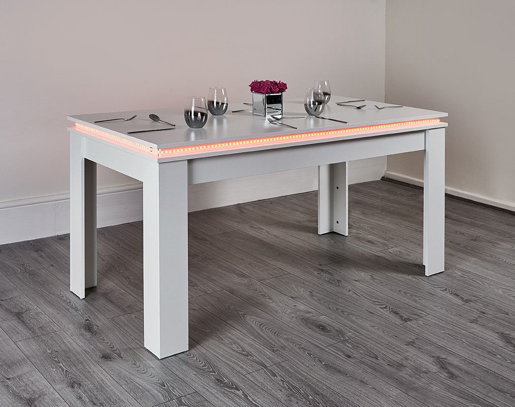 White Led Dining Table Abreo Abreo Home Furniture