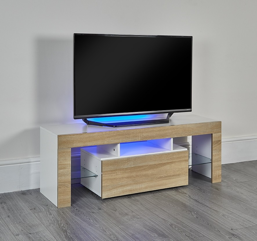 purchase cheap f802a 70d5a LED Light TV Stand in White/Oak