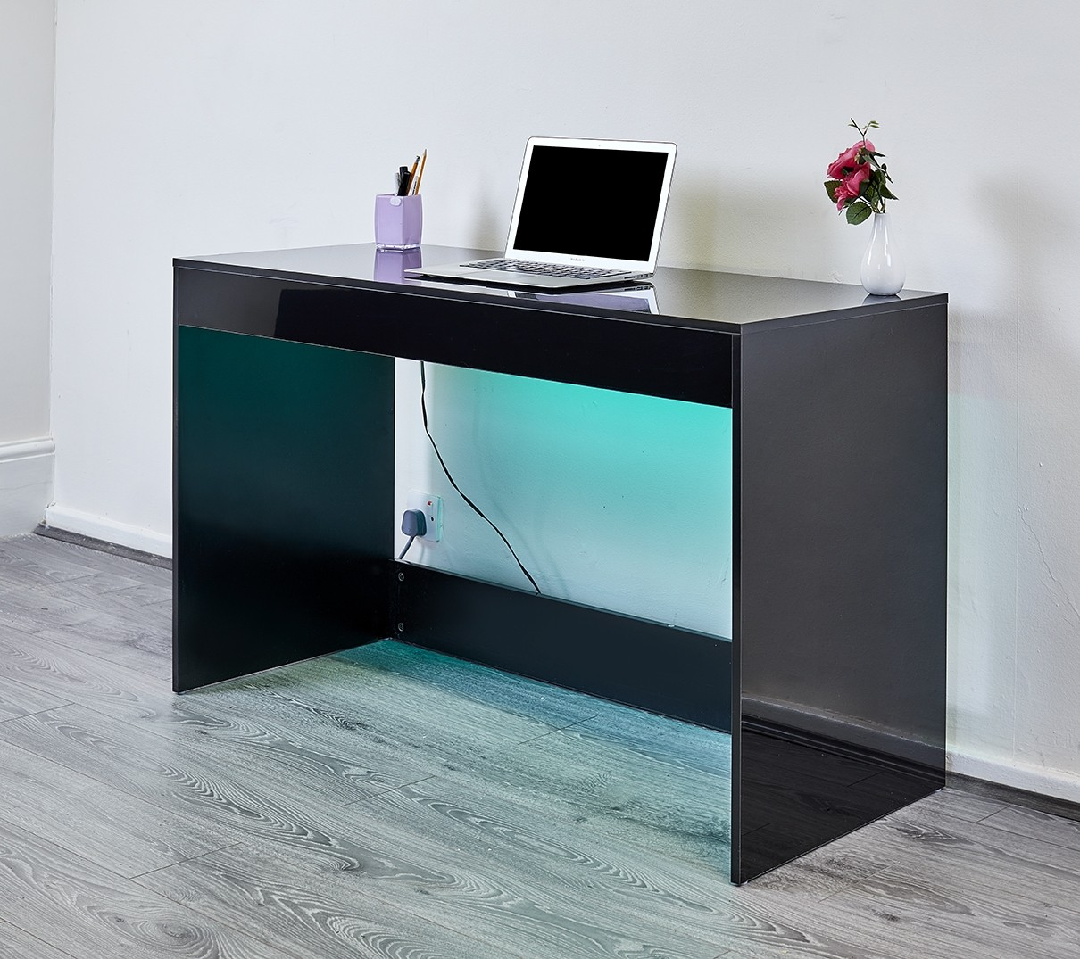 Black High Gloss Led Desk Console Table Abreo Home Furniture