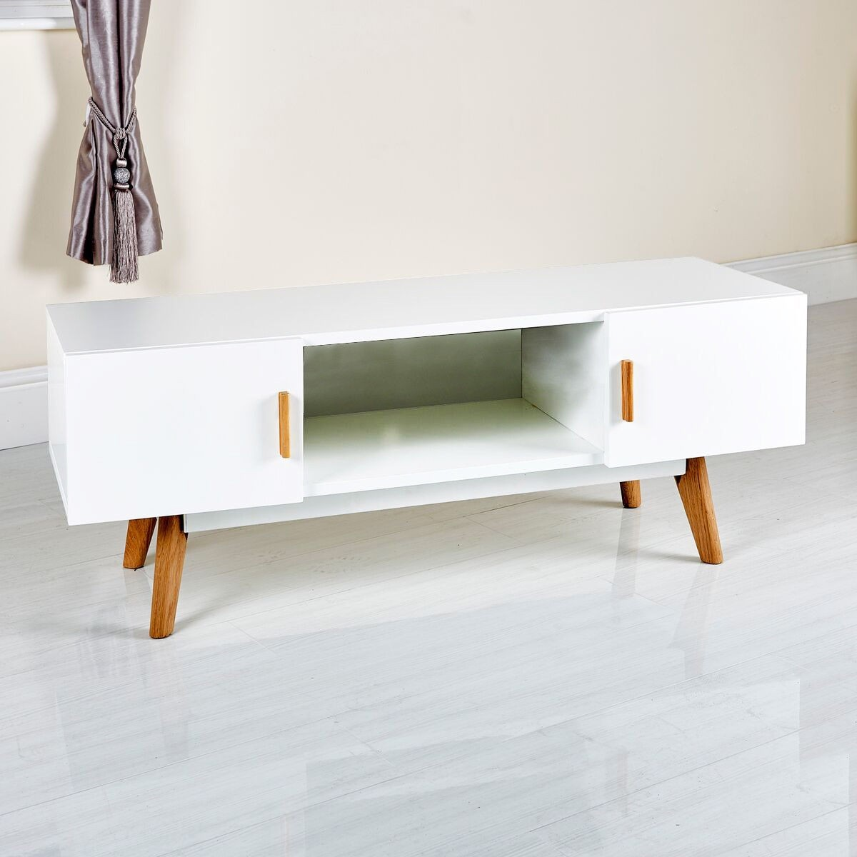 Stylish white modern tv stand from abreo abreo home furniture Home furniture tv stands
