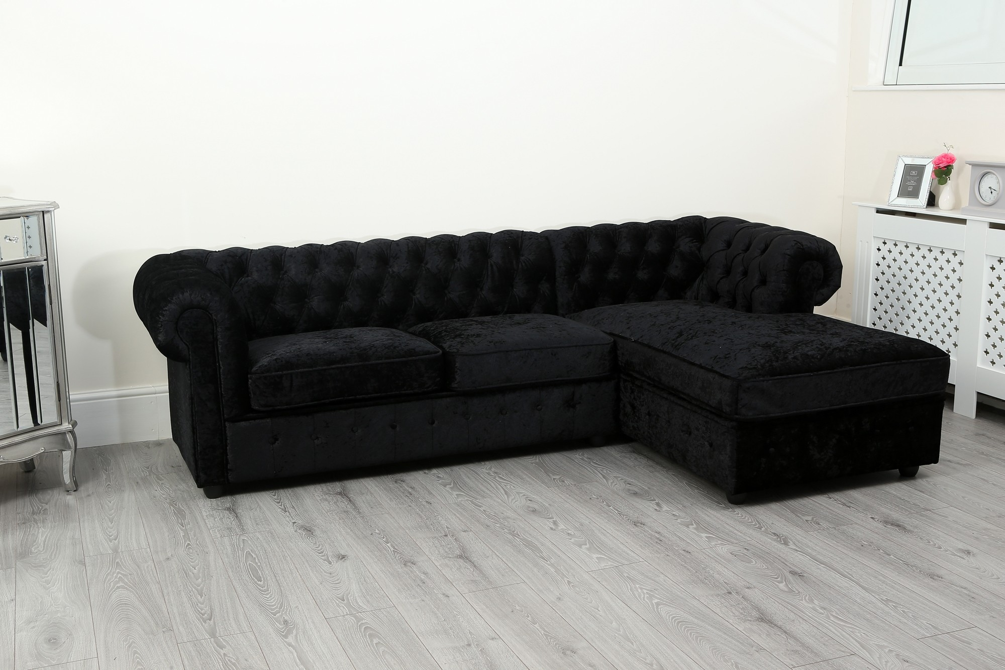 Empire Chesterfield Corner Sofa In Black Crushed Velvet Abreo Home Furniture