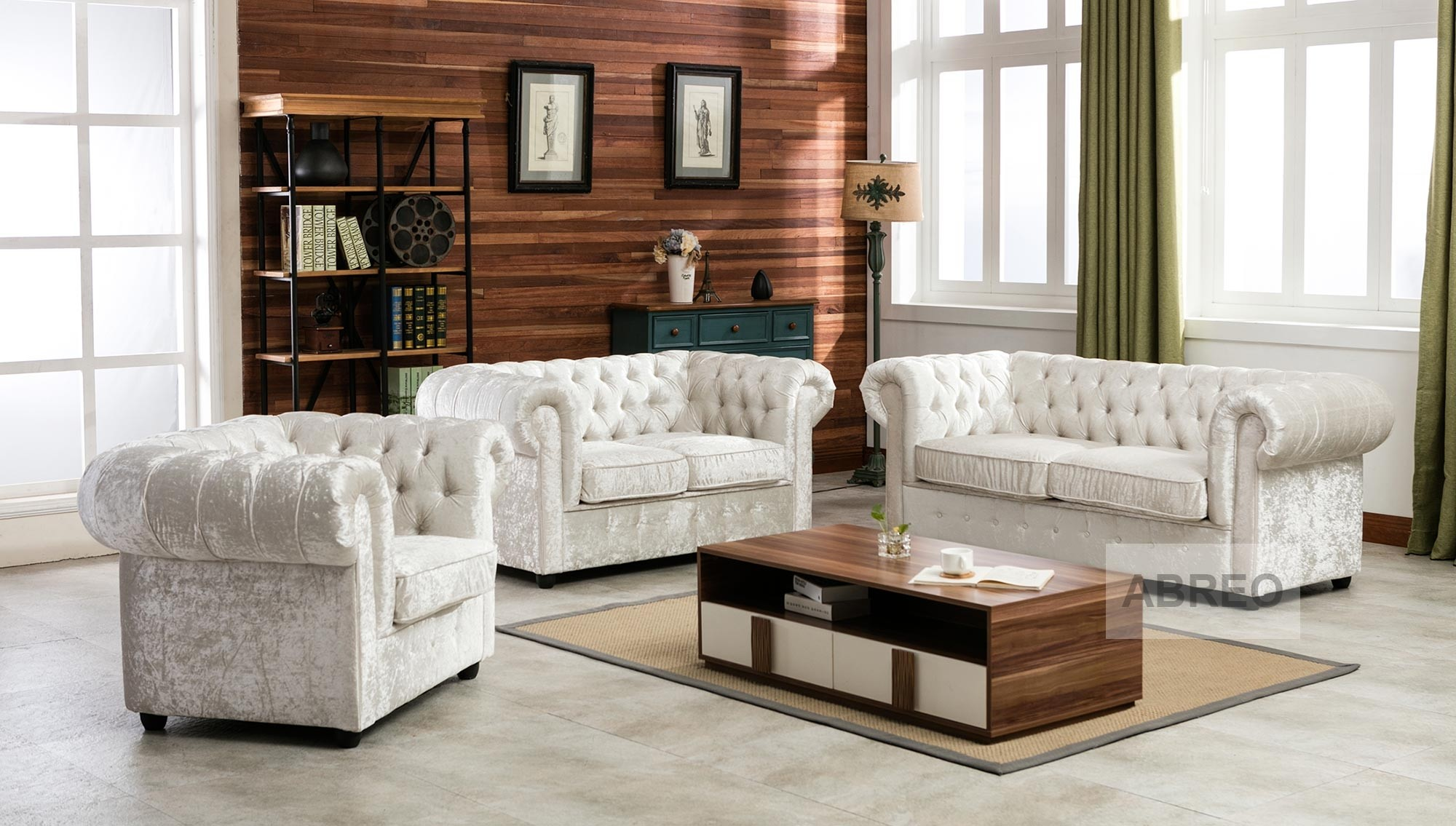 Empire Arctic Silver Crushed Velvet Chesterfields Abreo