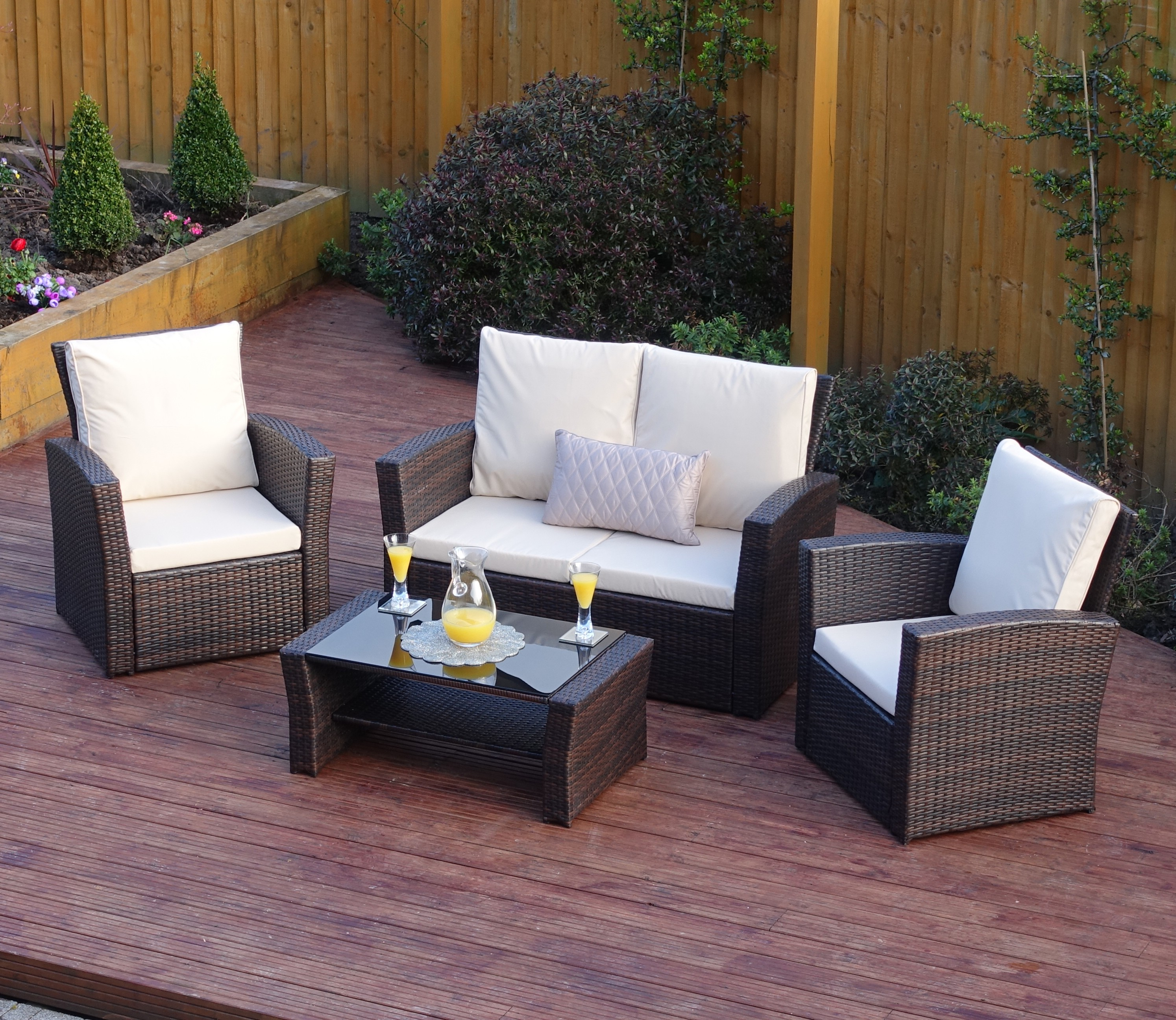4 piece algarve rattan sofa set for patios conservatories. Black Bedroom Furniture Sets. Home Design Ideas
