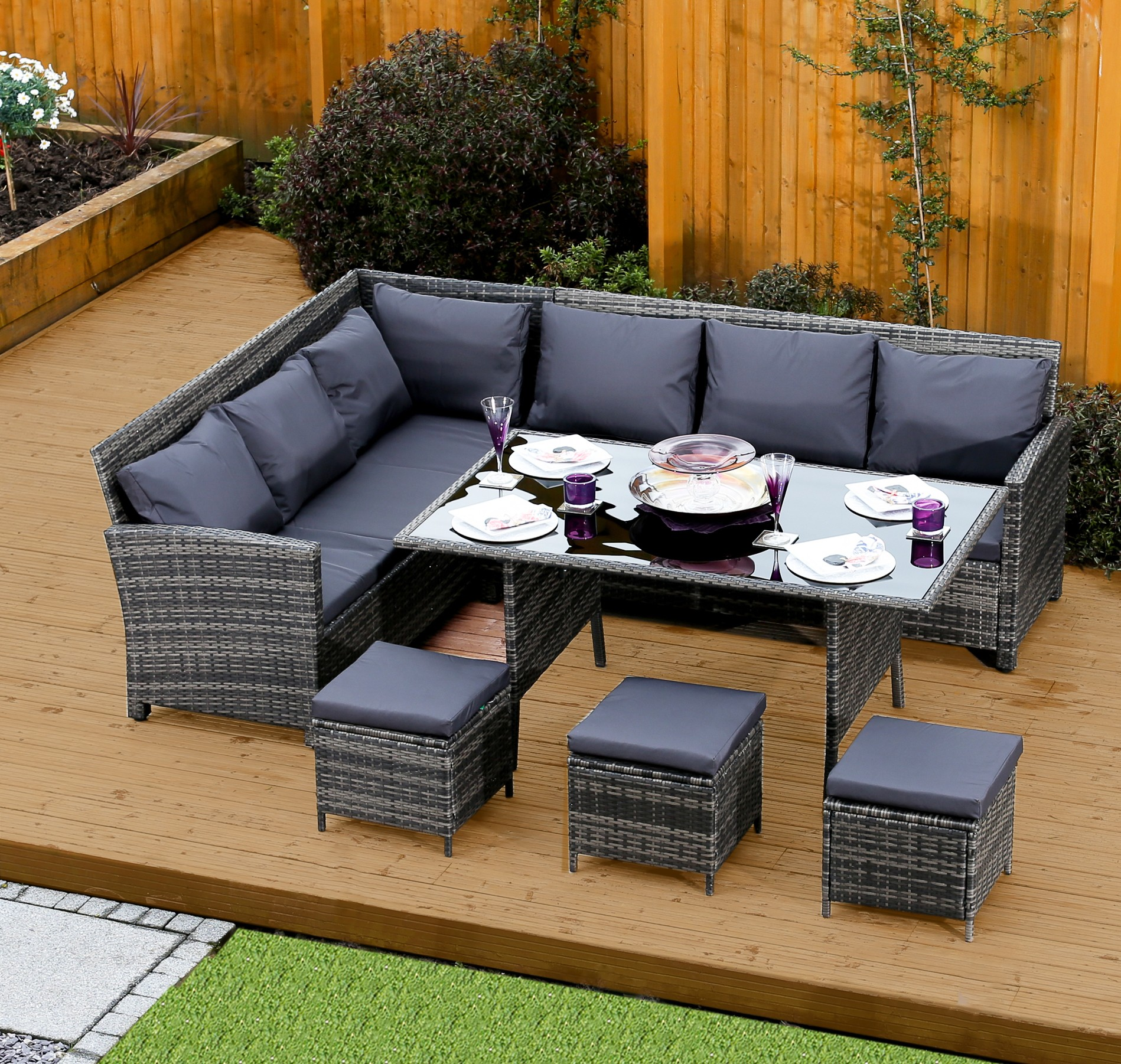 9 seater rattan corner garden sofa dining table set in dark mixed grey with dark cushions. Black Bedroom Furniture Sets. Home Design Ideas