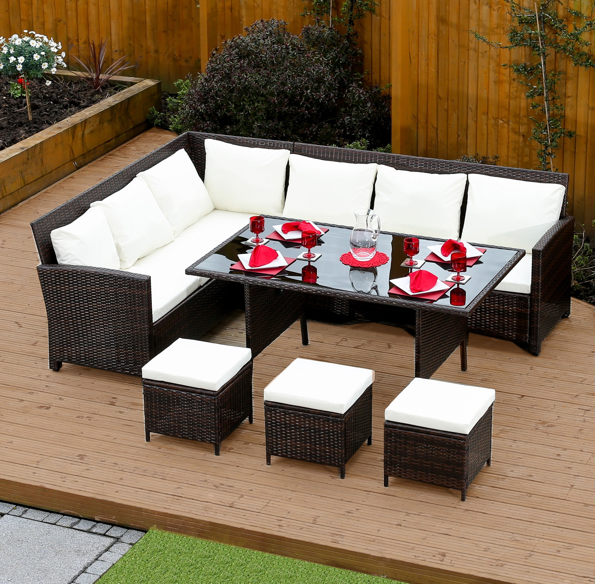 9 seater rattan corner garden sofa dining table set in brown with light cushions - Garden Furniture Table And Chairs