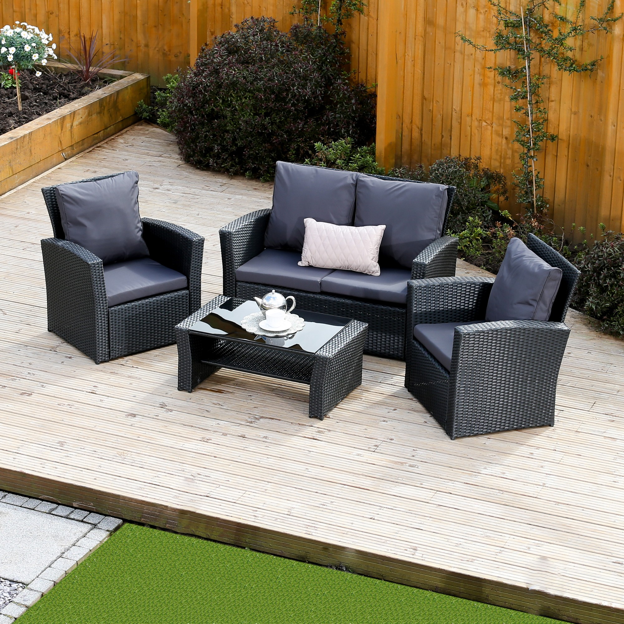 4 piece algarve rattan sofa set for patios conservatories and terraces made from abreo and. Black Bedroom Furniture Sets. Home Design Ideas
