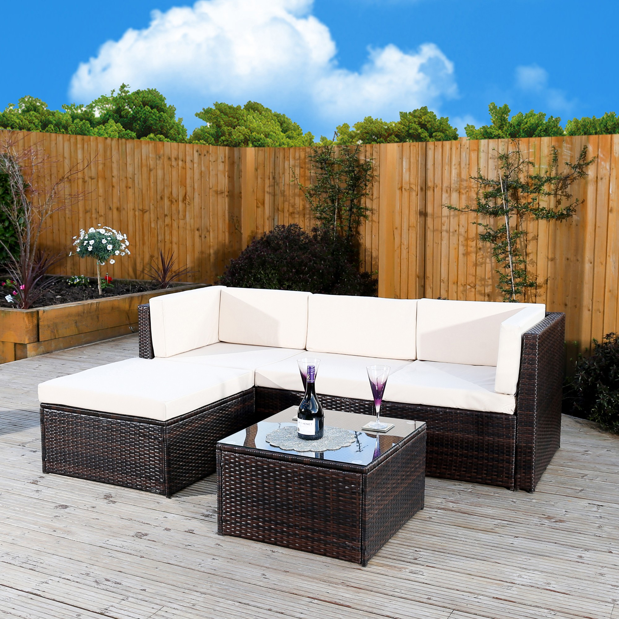 Rattan Corner Sofa Garden Set: Milano Rattan 5 Piece Corner Sofa In Brown Or Black Abreo