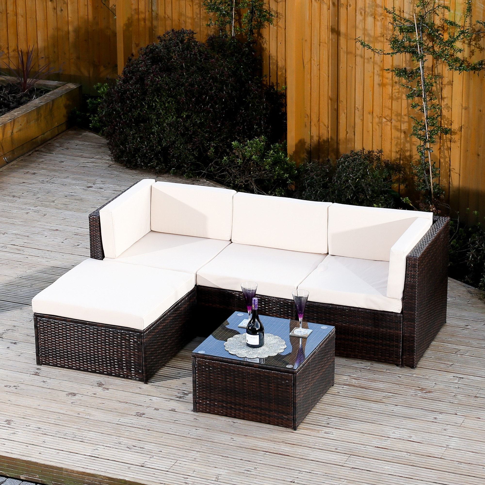Milano Rattan 5 Piece Corner Sofa In Brown Or Black Abreo