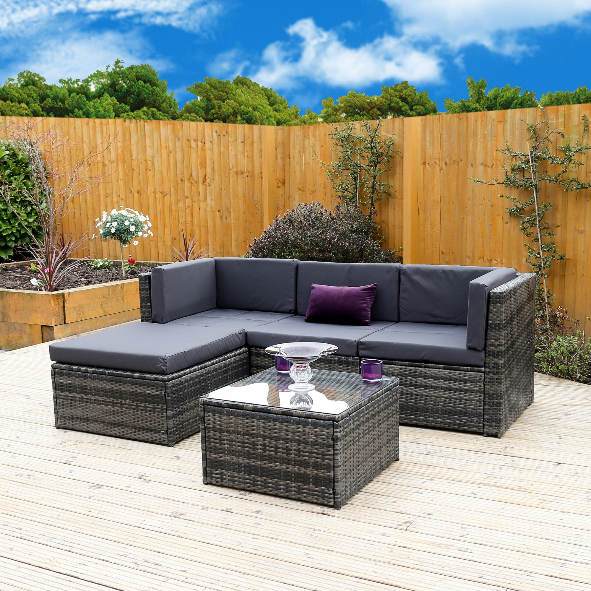 5 Piece Milano Modular Rattan Corner Sofa Set Now In Stock Abreo Home Furniture