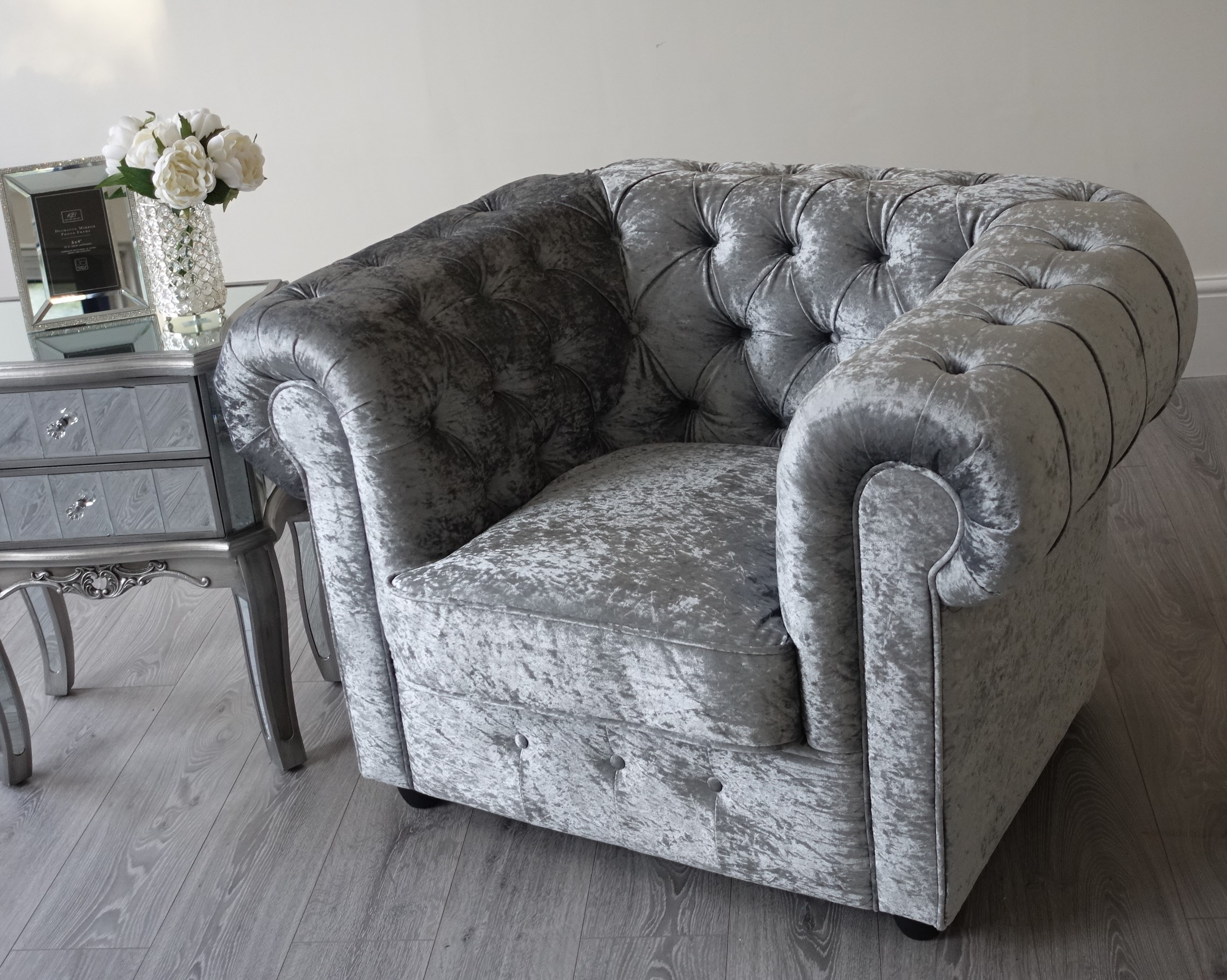 ... Empire Grey Silver Crushed Velvet Chesterfield Armchair ... & Empire Grey Silver Crushed Velvet Chesterfield sofa Abreo Home Furniture