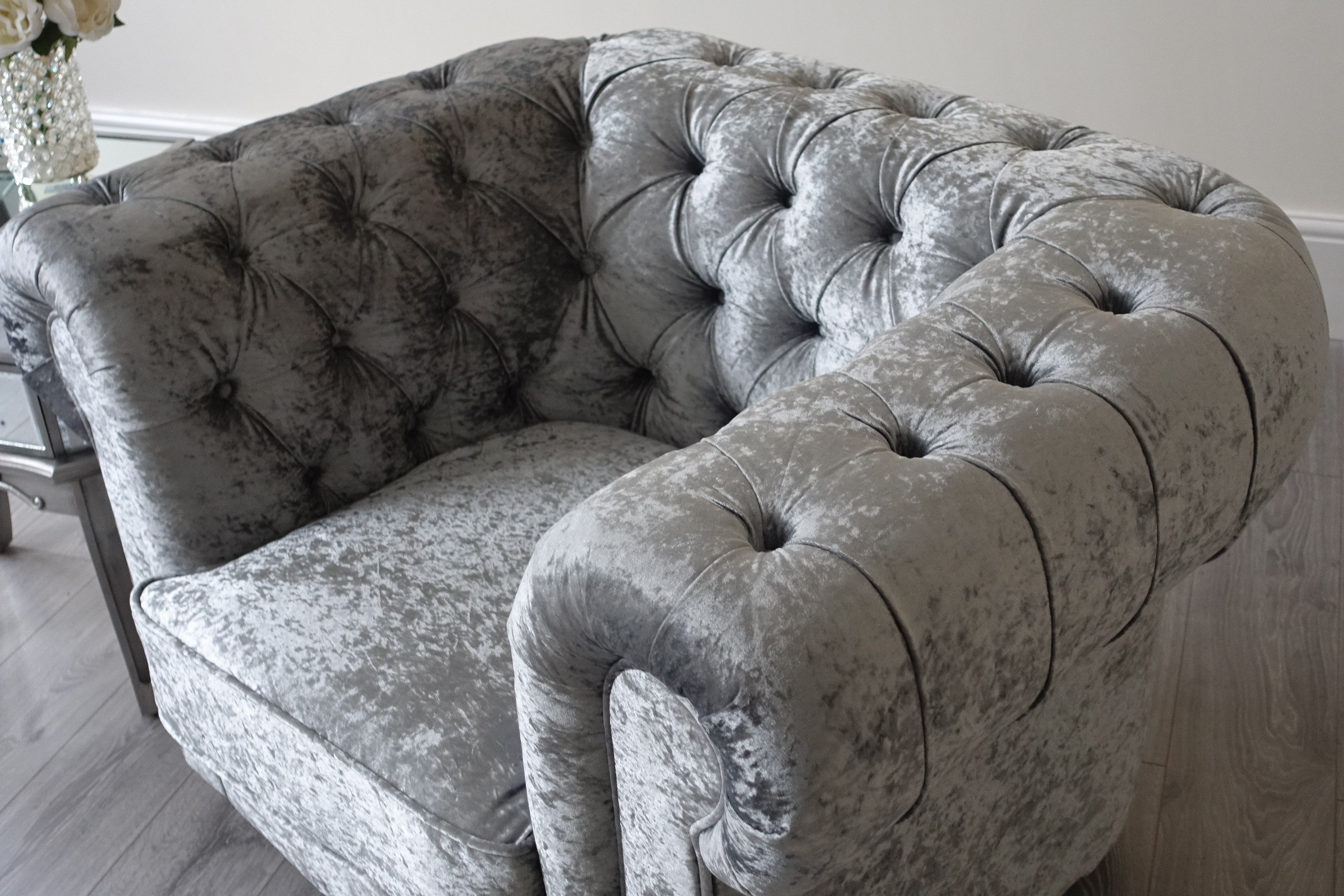 Empire Arctic Silver Crushed Velvet Chesterfields Abreo Home Furniture